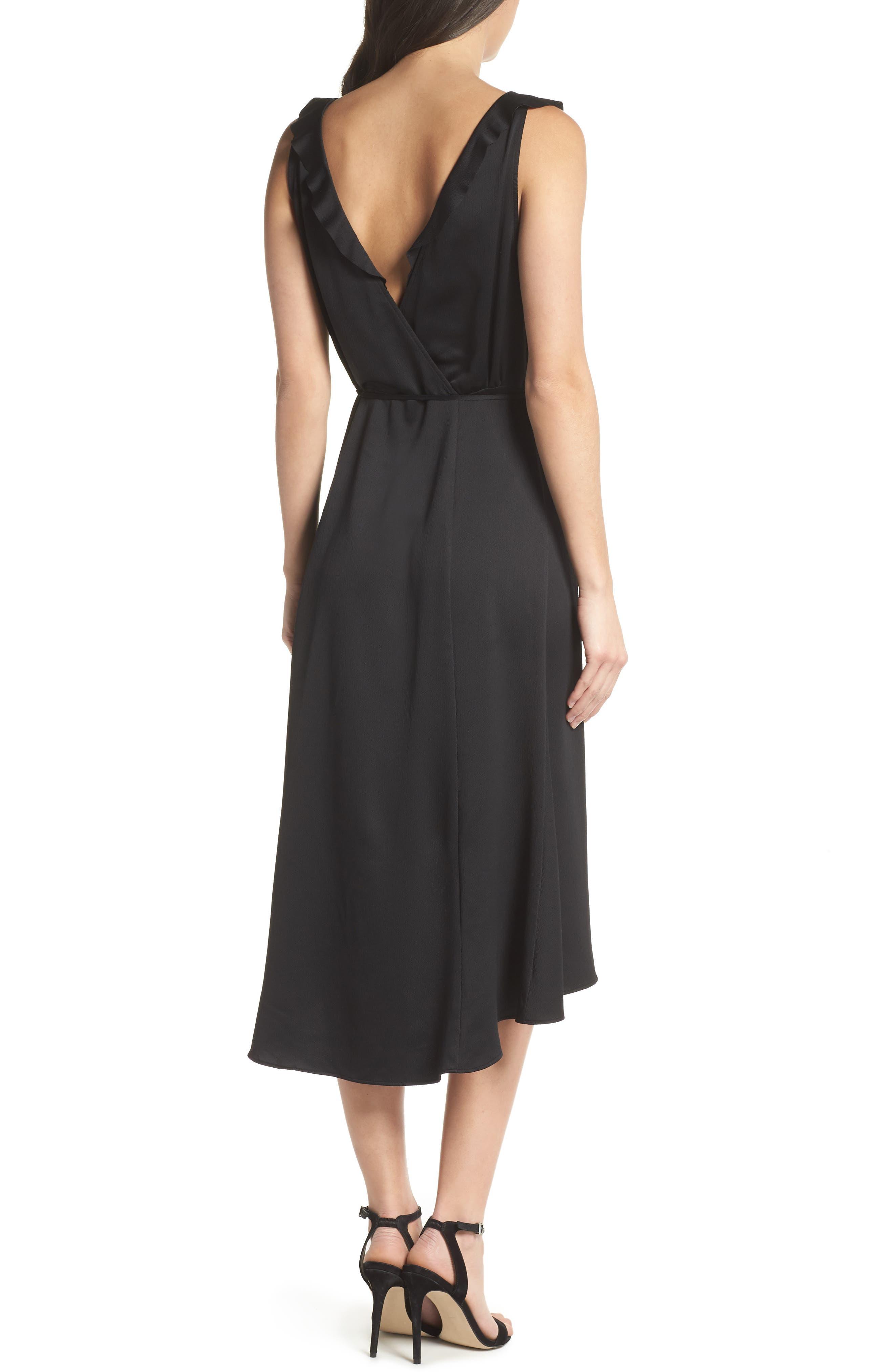 Maudie Ruffle Midi Dress,                             Alternate thumbnail 2, color,                             Black