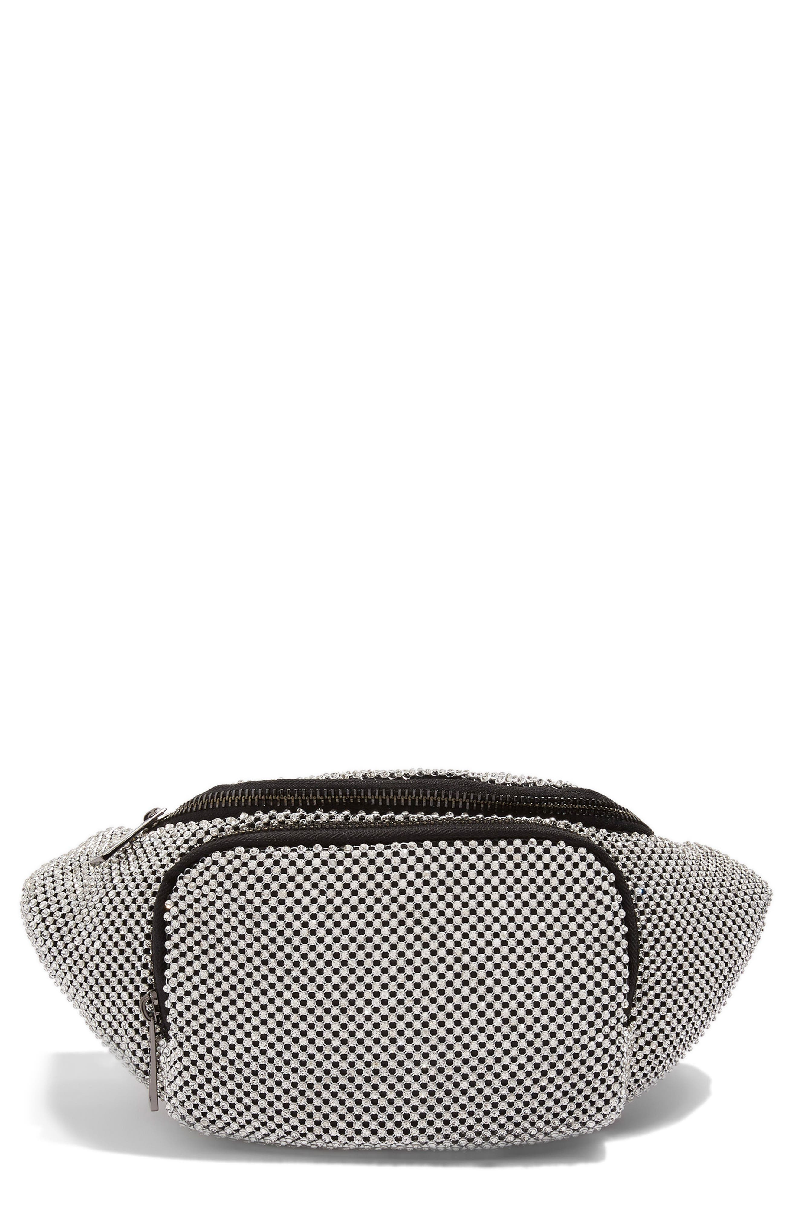 Diana Diamante Chainmail Bum Bag,                             Main thumbnail 1, color,                             Silver Multi
