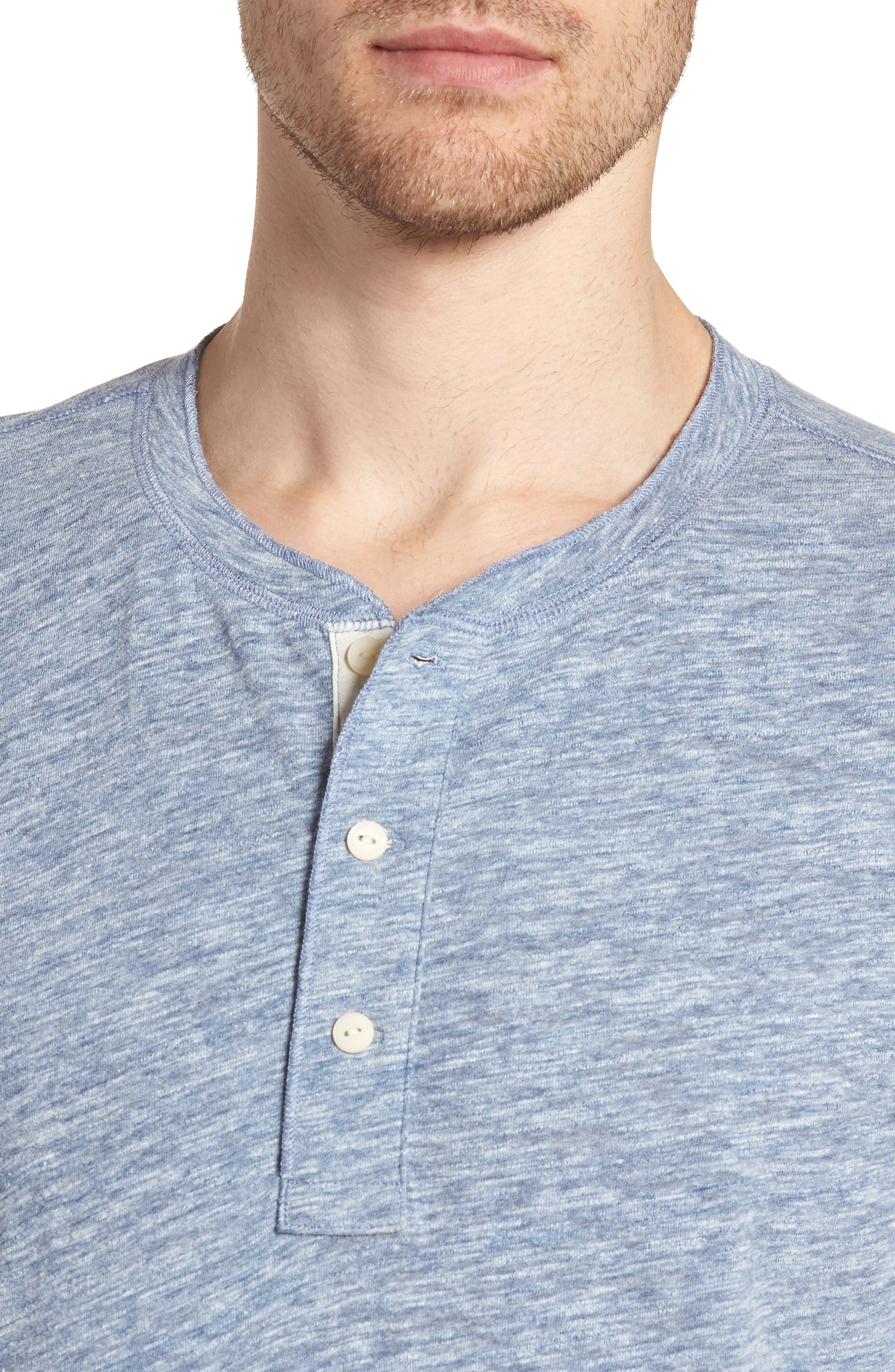 Short Sleeve Heathered Henley,                             Alternate thumbnail 4, color,                             Navy