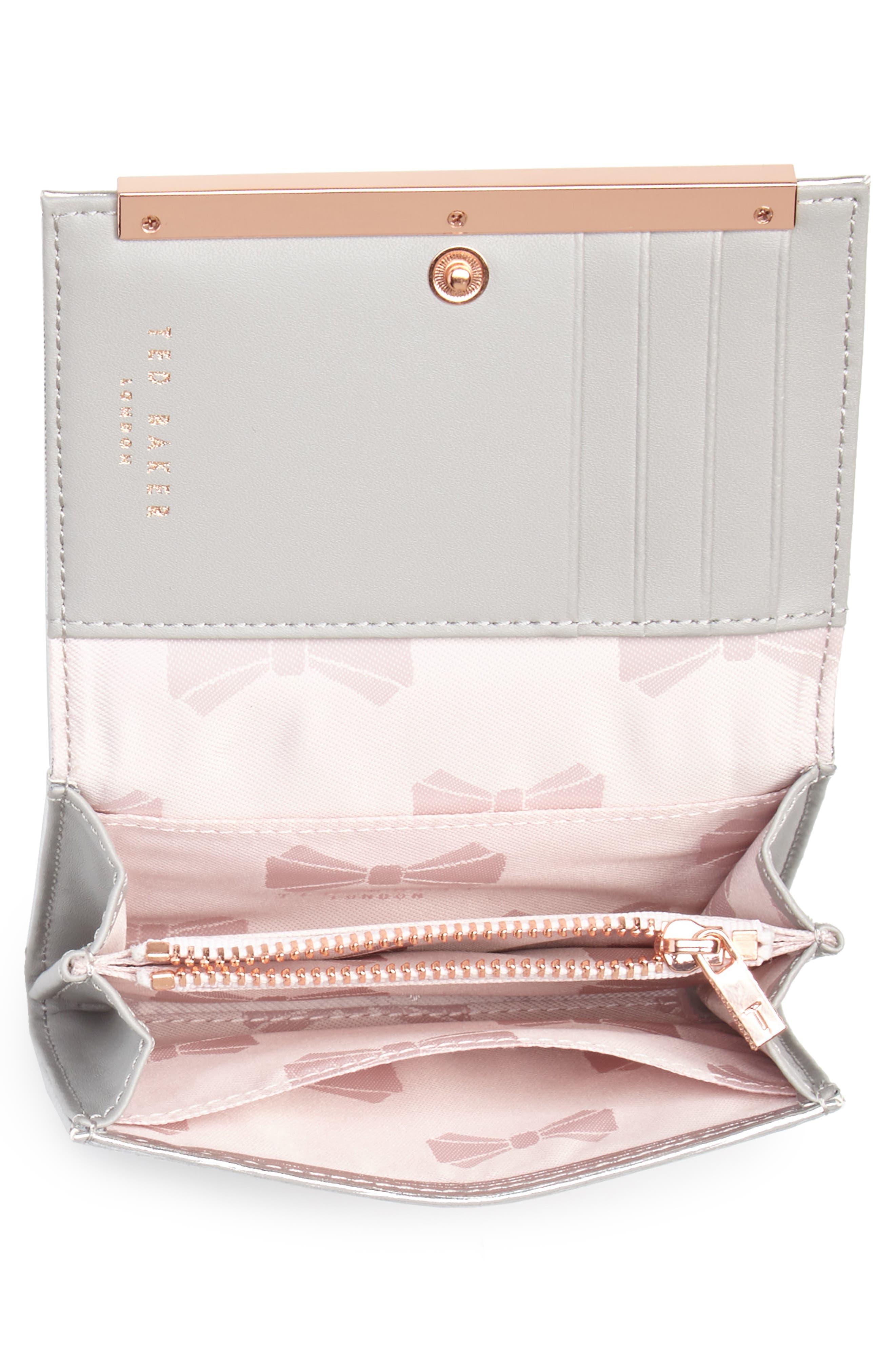 Valenta Plissé Leather Mini Wallet,                             Alternate thumbnail 3, color,                             Silver