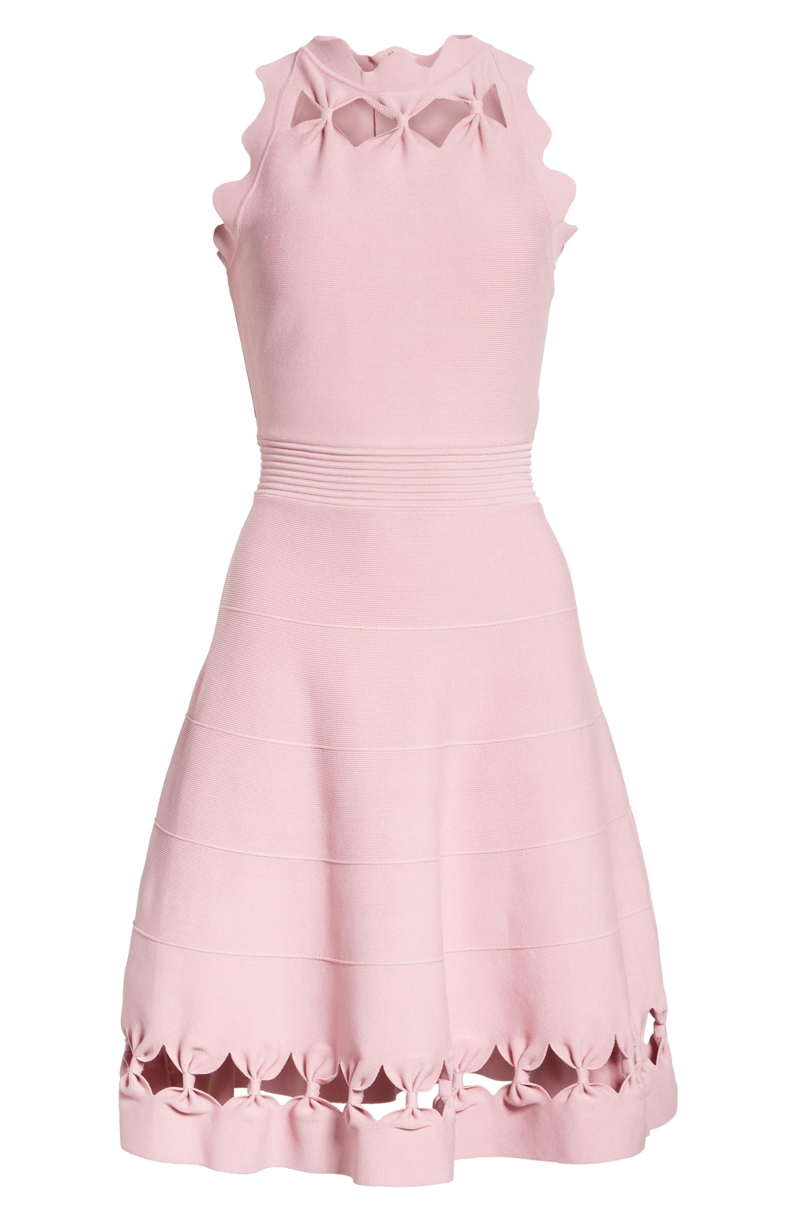 Bow Detail Knit Fit & Flare Dress,                             Alternate thumbnail 6, color,                             Dusky Pink