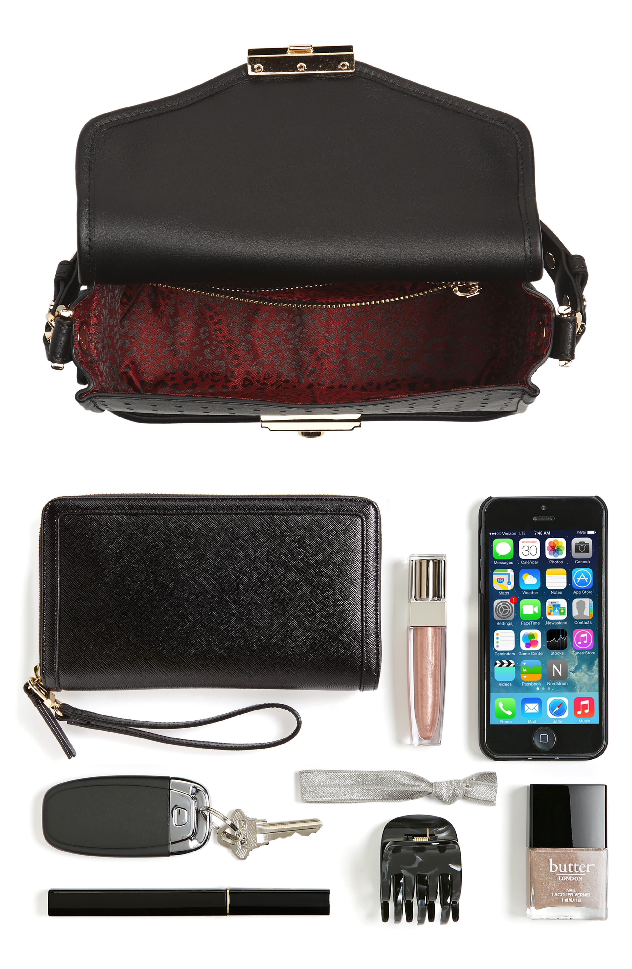 Small Mademoiselle Calfskin Leather Crossbody Bag,                             Alternate thumbnail 7, color,