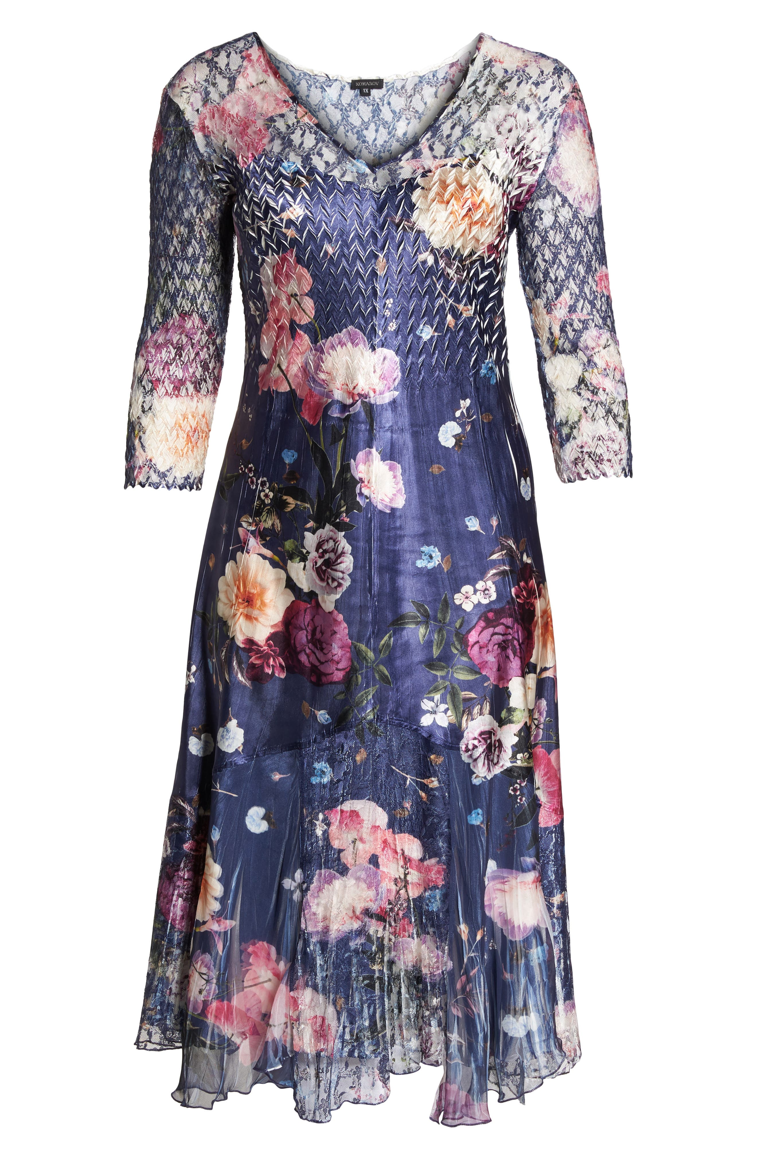 Koramov Floral Print Lace Inset Dress,                             Alternate thumbnail 6, color,                             Velvet Bouquet
