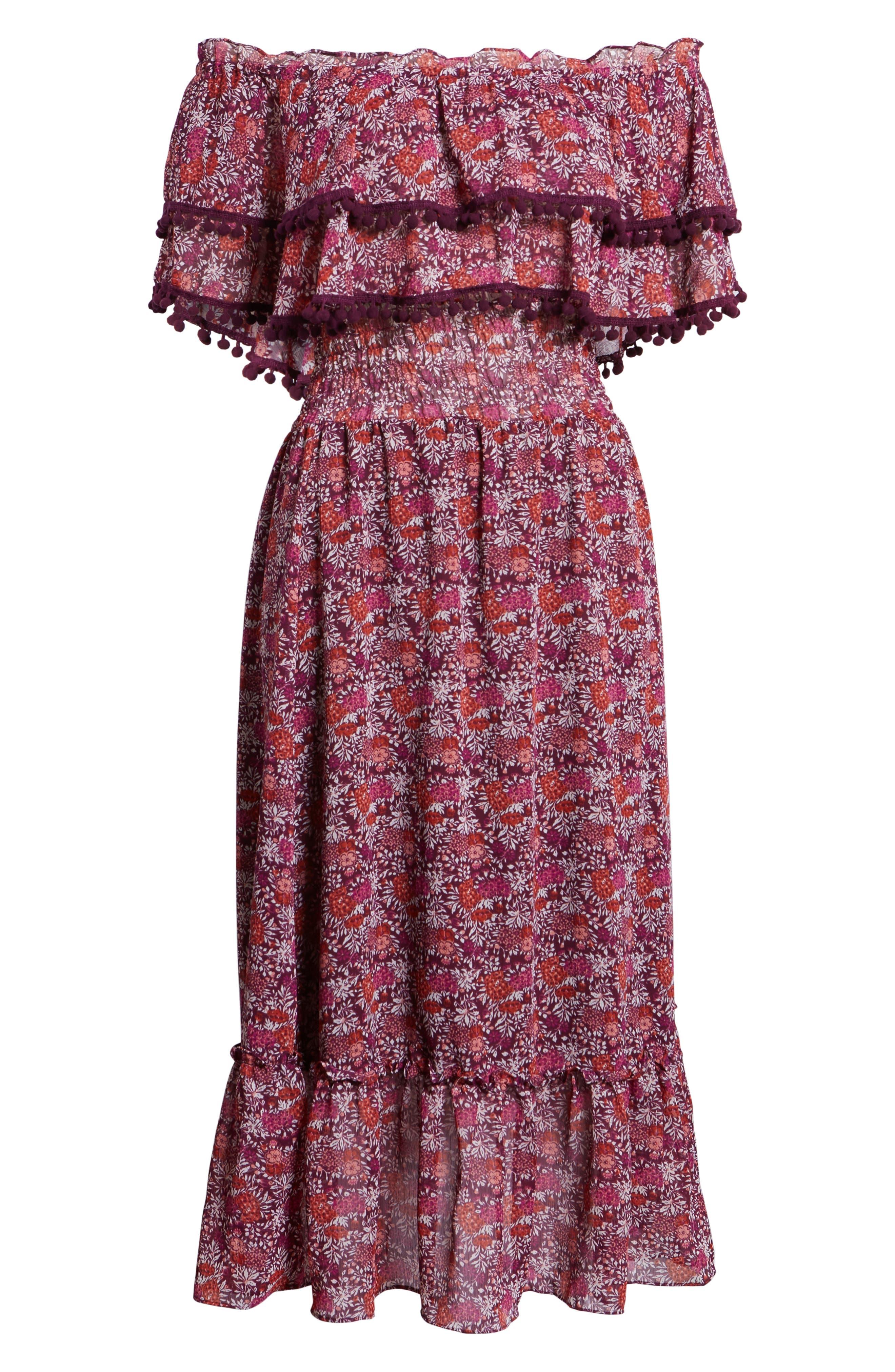 Maribel Off the Shoulder Midi Dress,                             Alternate thumbnail 7, color,                             Multi Fe4