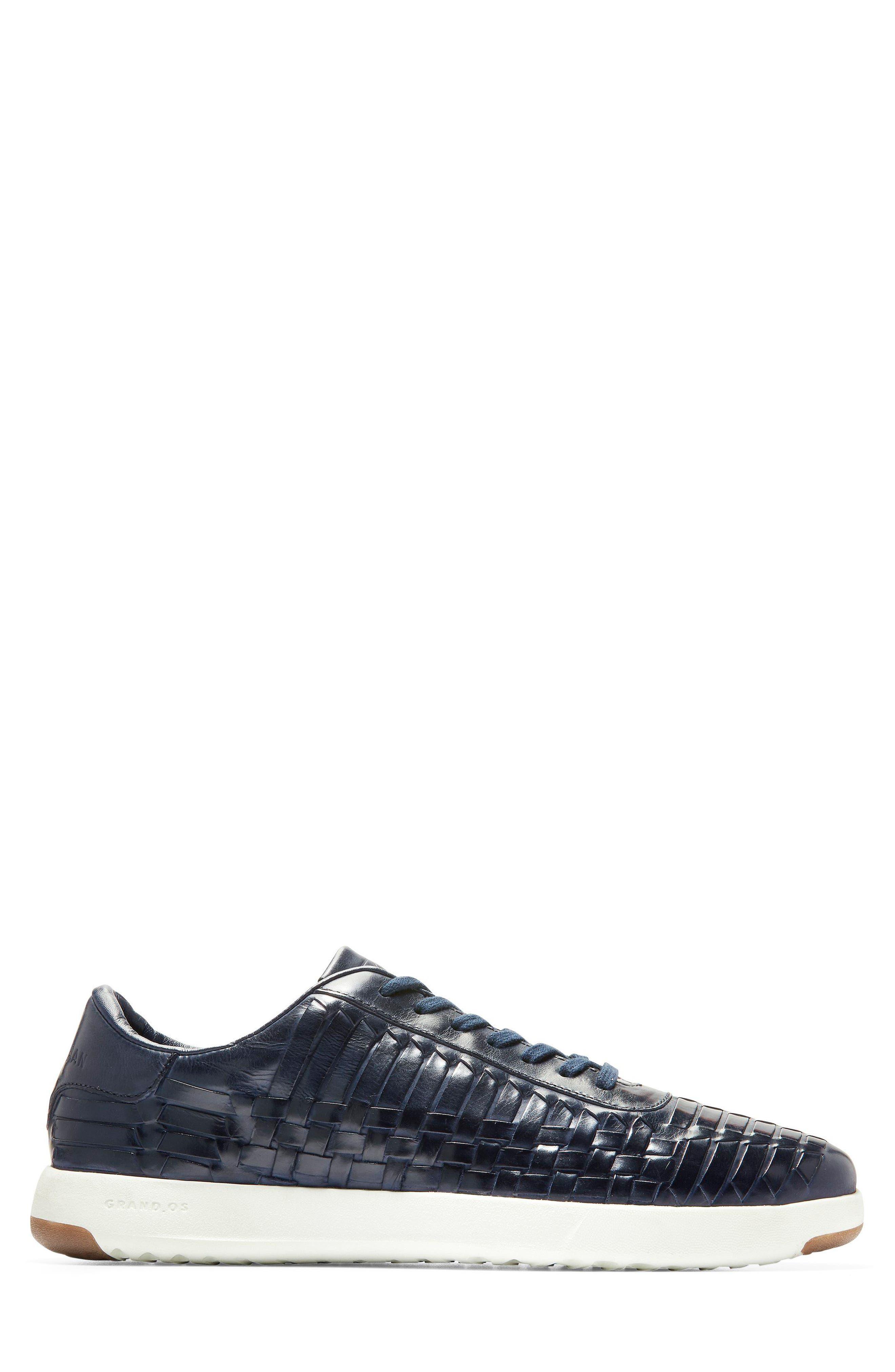 GrandPro Tennis Huarache Sneaker,                             Alternate thumbnail 3, color,                             Navy Woven Burnish
