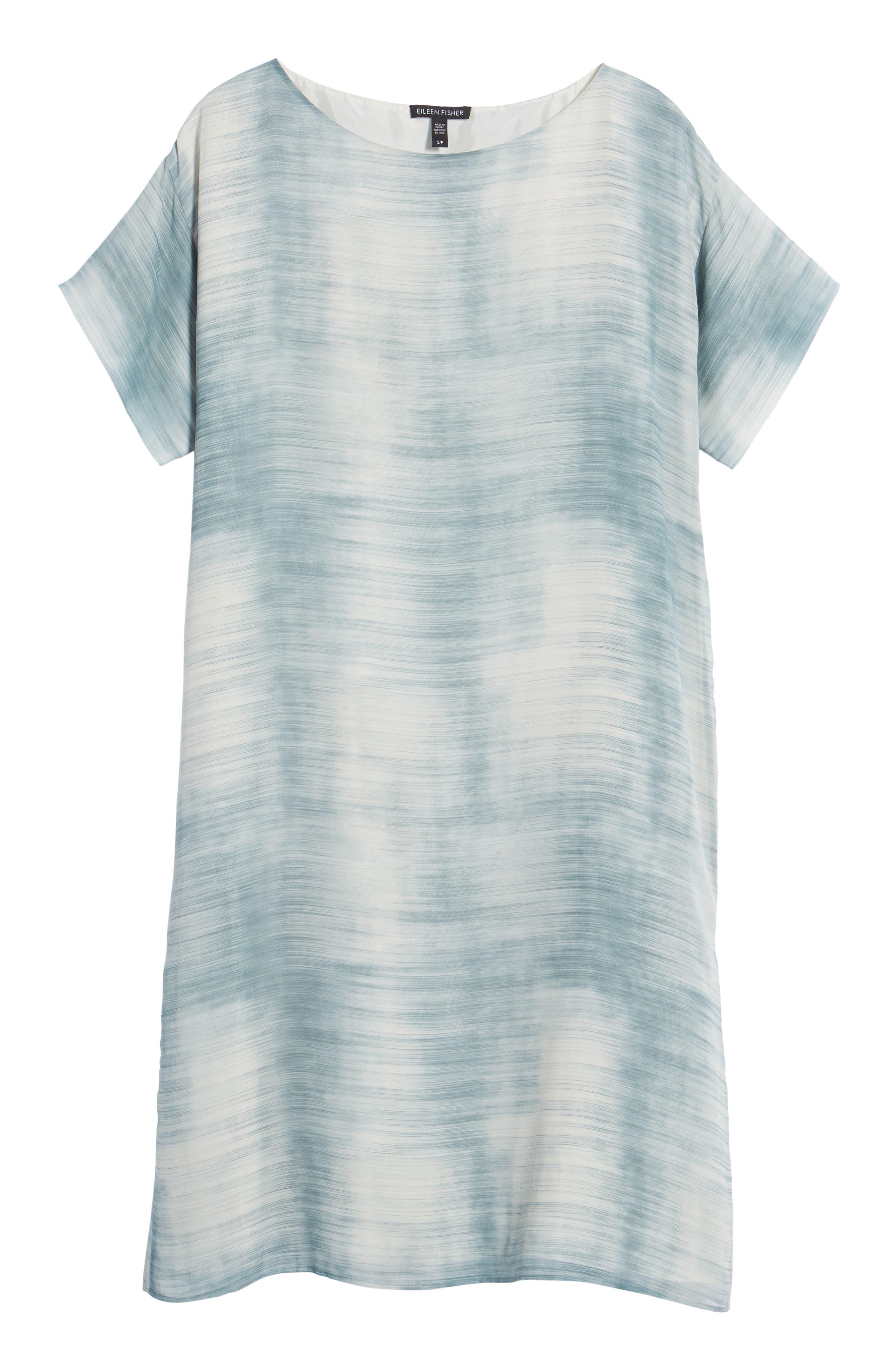 Bateau Neck Silk Shift Dress,                             Alternate thumbnail 7, color,                             Blue Steel