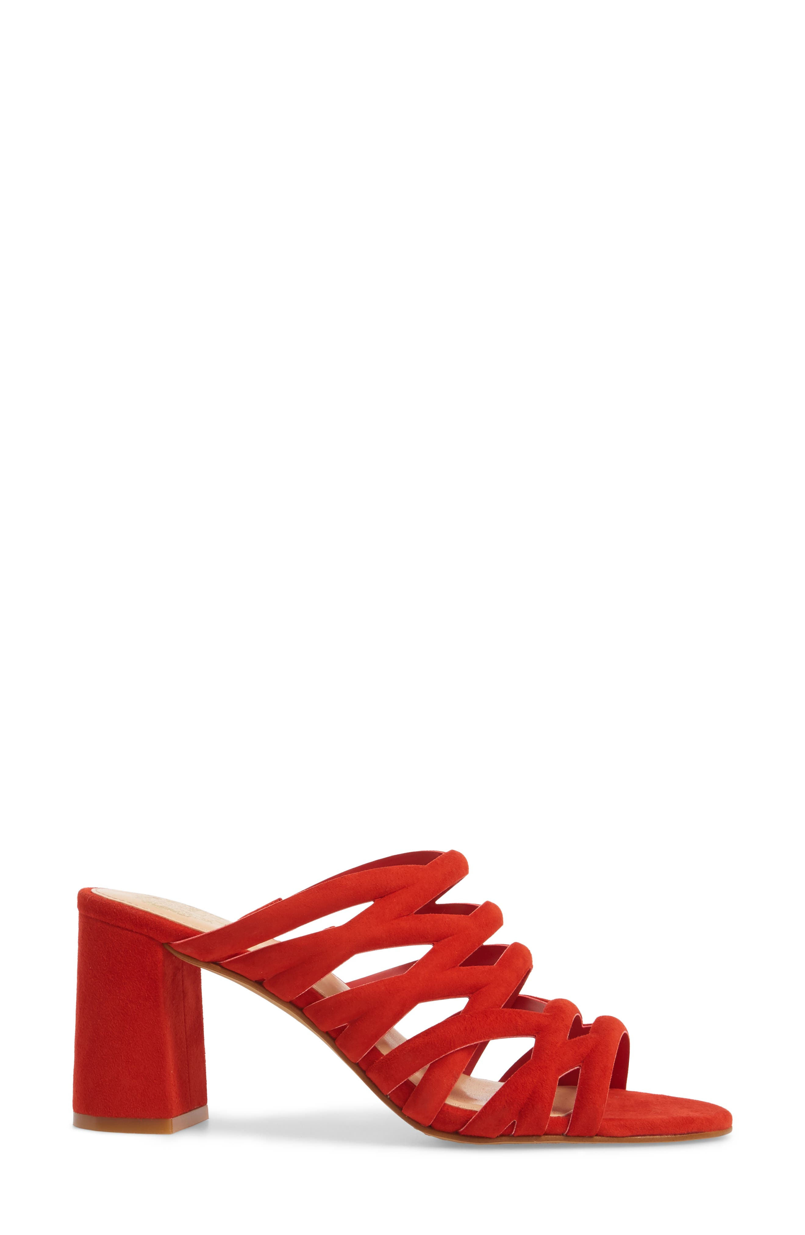Raveana Cage Mule,                             Alternate thumbnail 3, color,                             Red Hot Rio Suede
