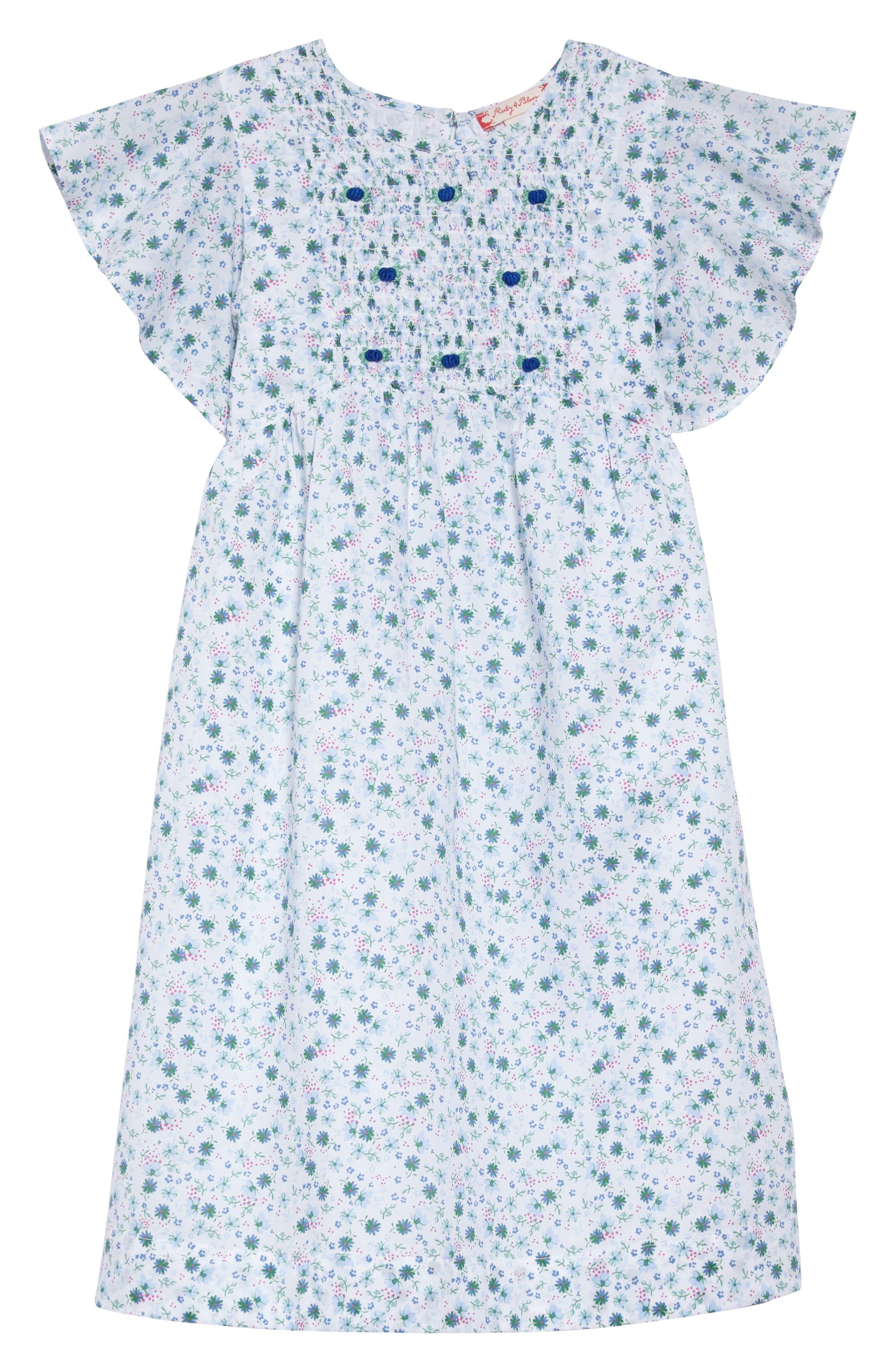 Floral Flutter Sleeve Dress,                             Main thumbnail 1, color,                             White Devon Floral