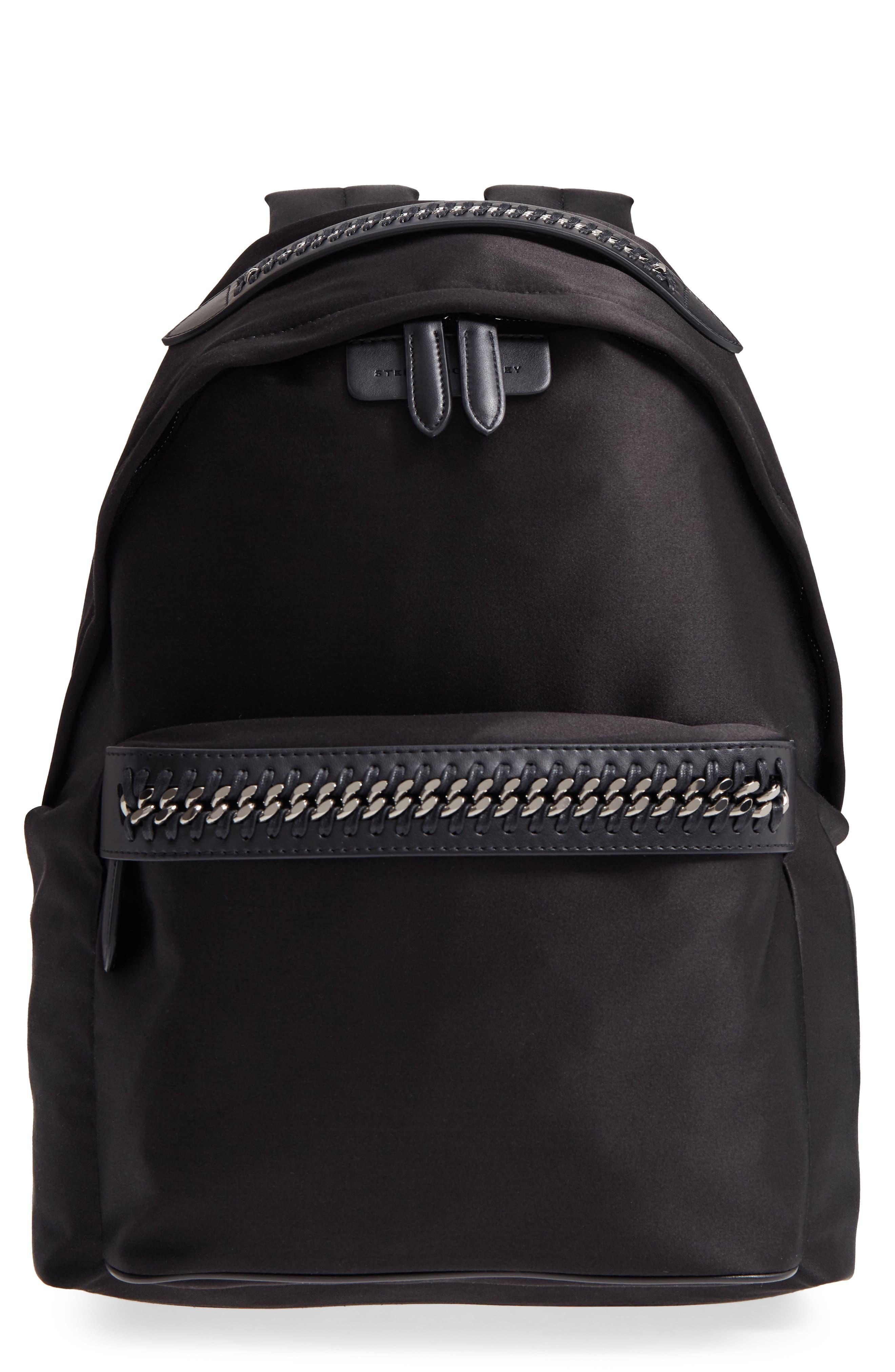 Logo Embossed Satin Backpack,                         Main,                         color, Black