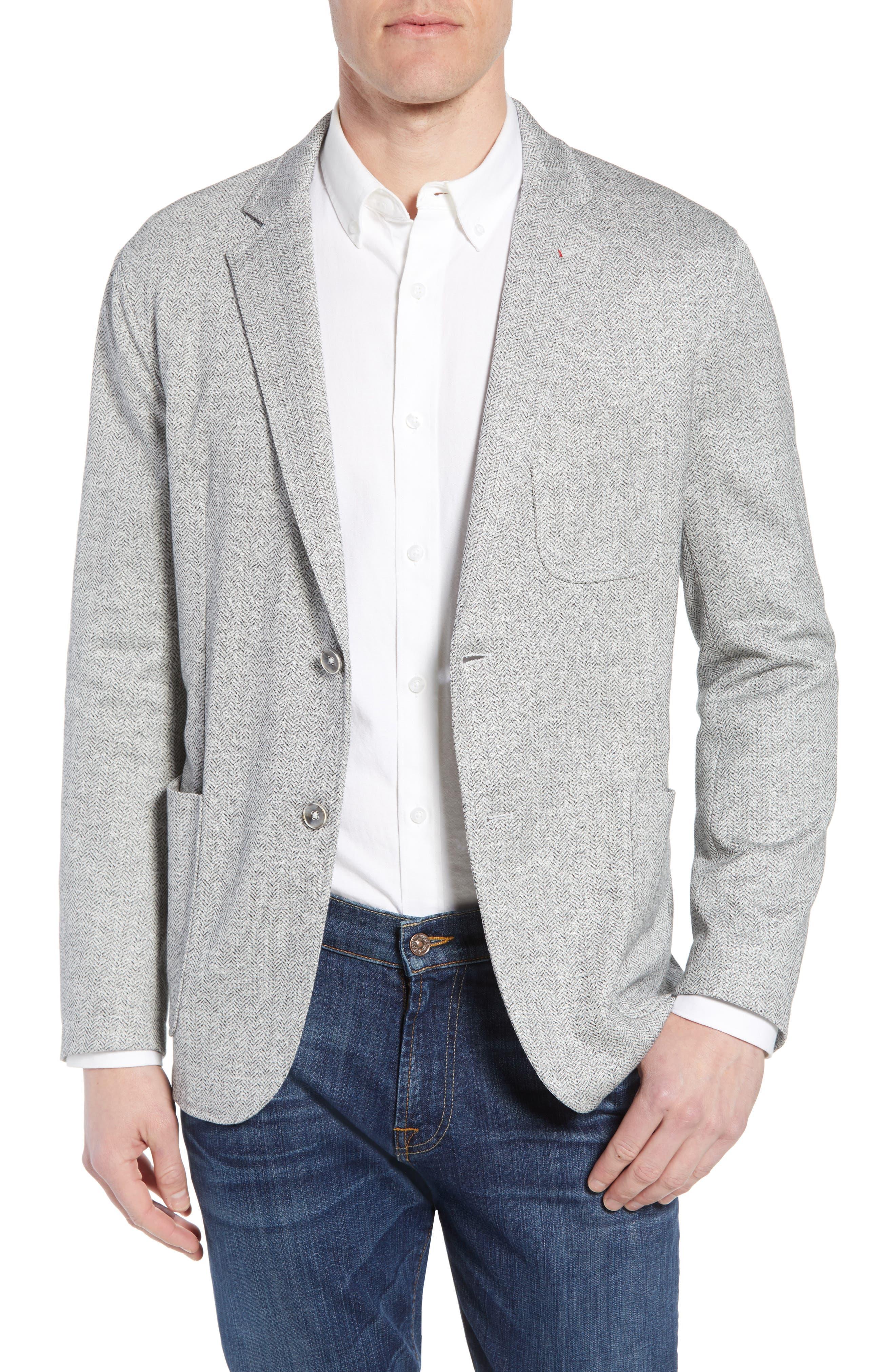 Main Image - Bugatchi Regular Fit Herringbone Cotton & Linen Blazer