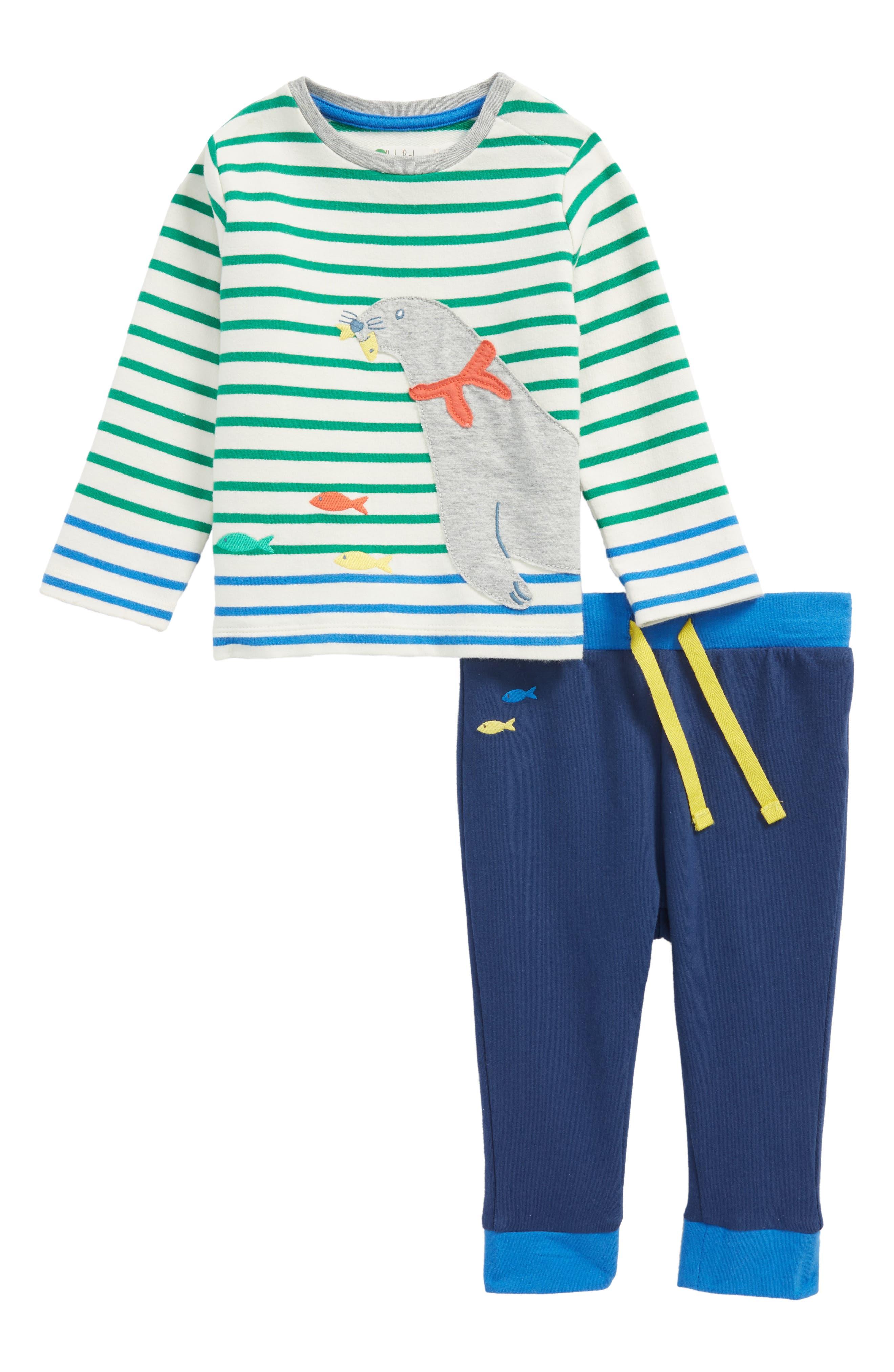 Animal Appliqué Jersey T-Shirt & Pants Set,                         Main,                         color, Watercress/ Ecru