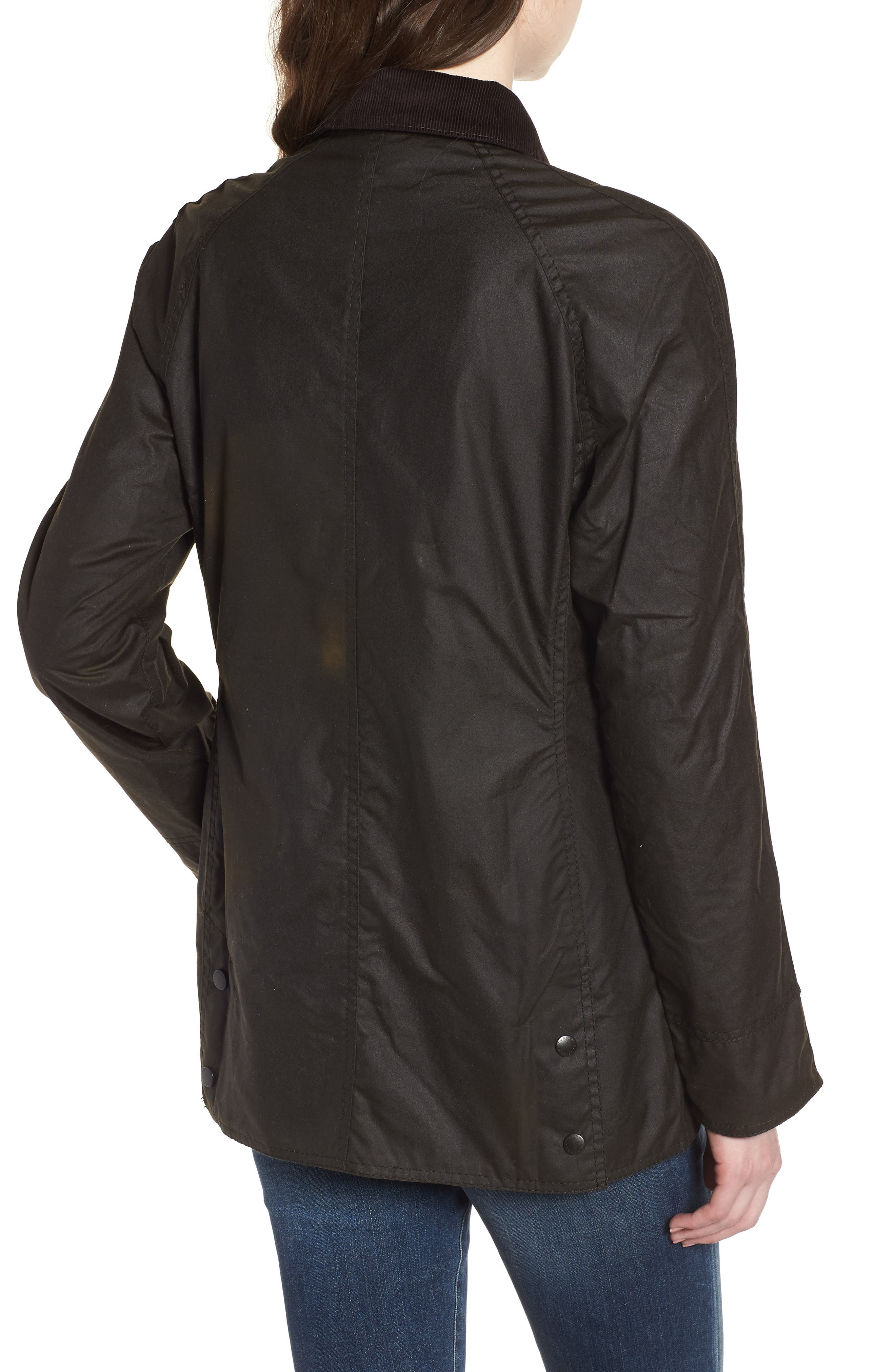 Beadnell Waxed Cotton Jacket,                             Alternate thumbnail 2, color,                             Olive