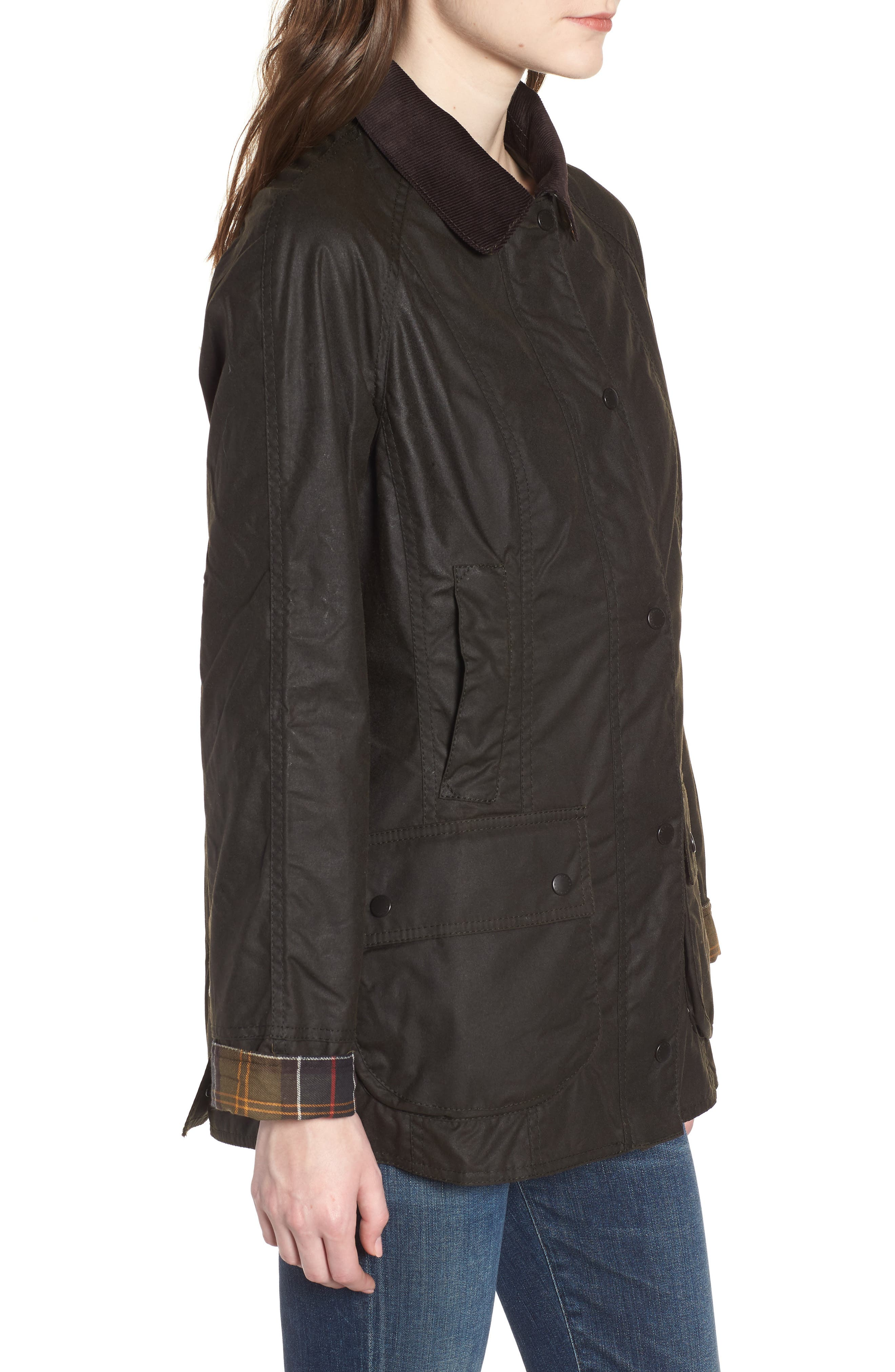 Beadnell Waxed Cotton Jacket,                             Alternate thumbnail 3, color,                             Olive