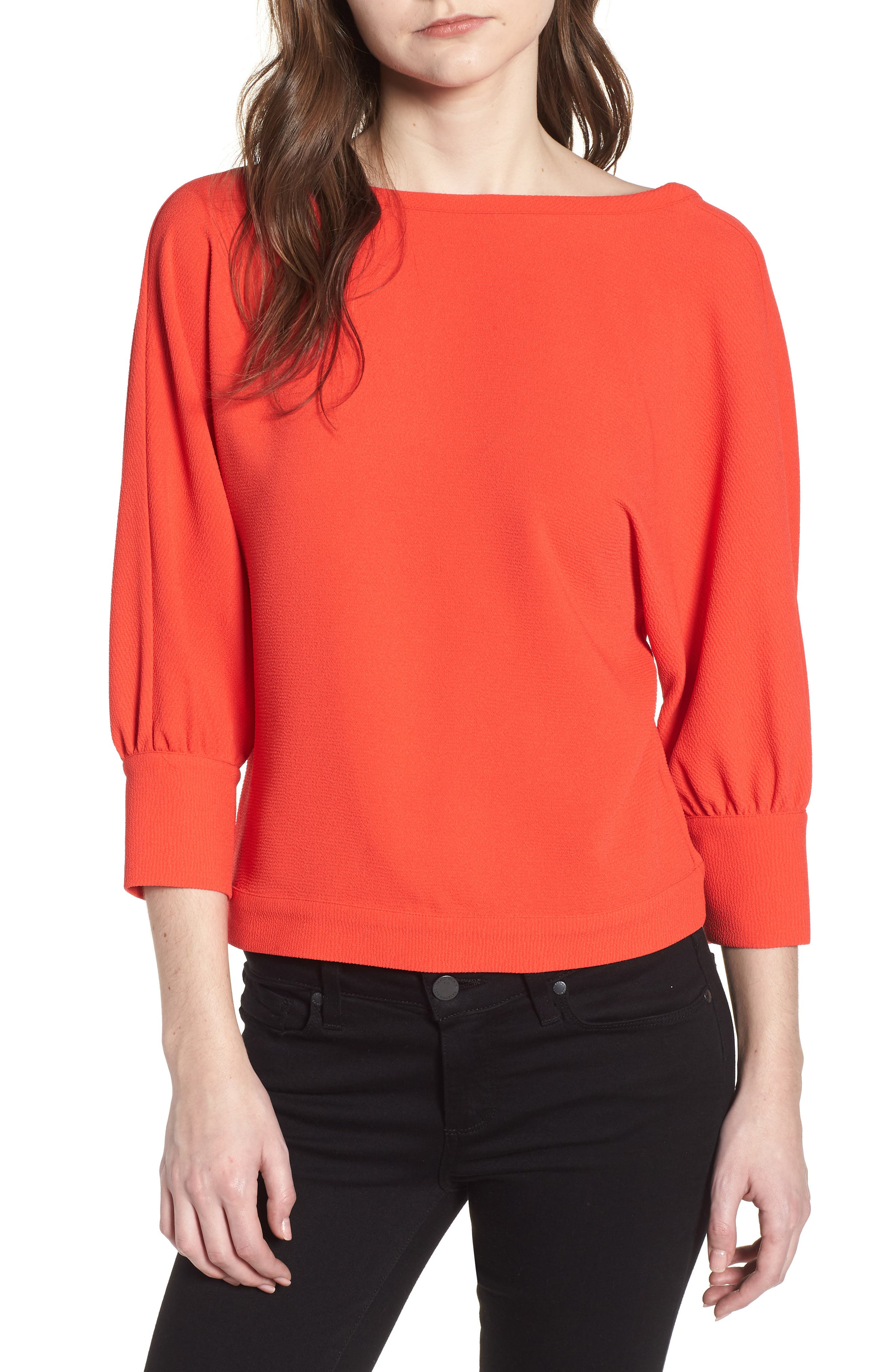 Dolman Sleeve Top,                         Main,                         color, Red Poppy
