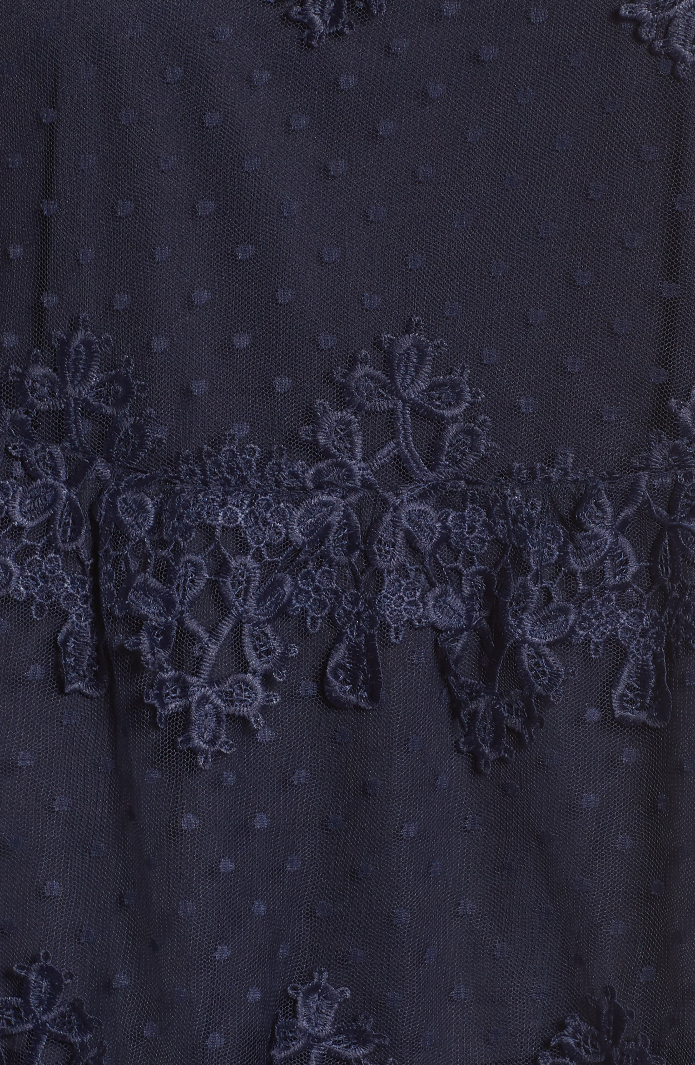 Lace Swiss Dot Swing Dress,                             Alternate thumbnail 6, color,                             Navy