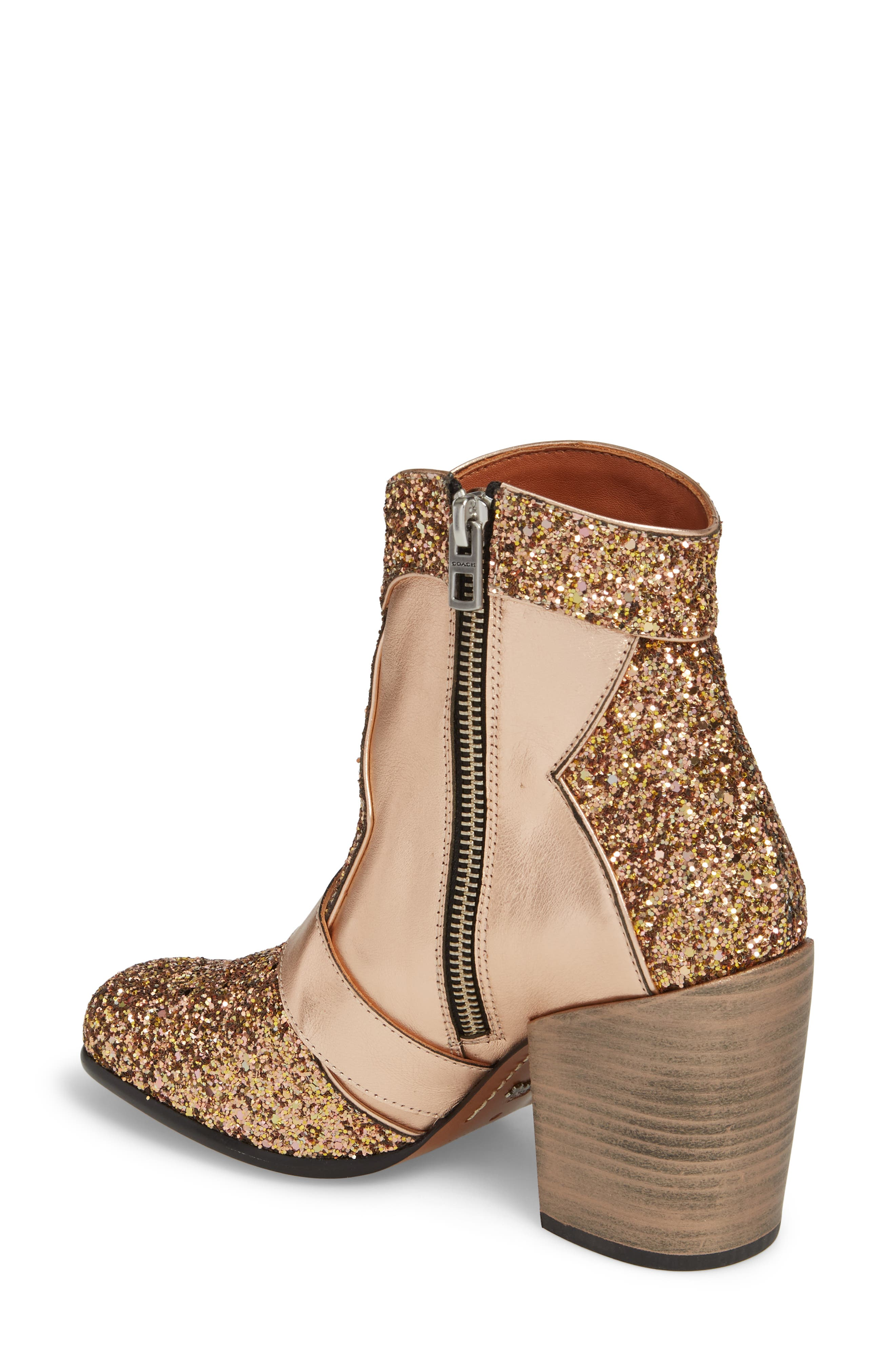 Glitter Western Bootie,                             Alternate thumbnail 2, color,                             Rose Gold Leather
