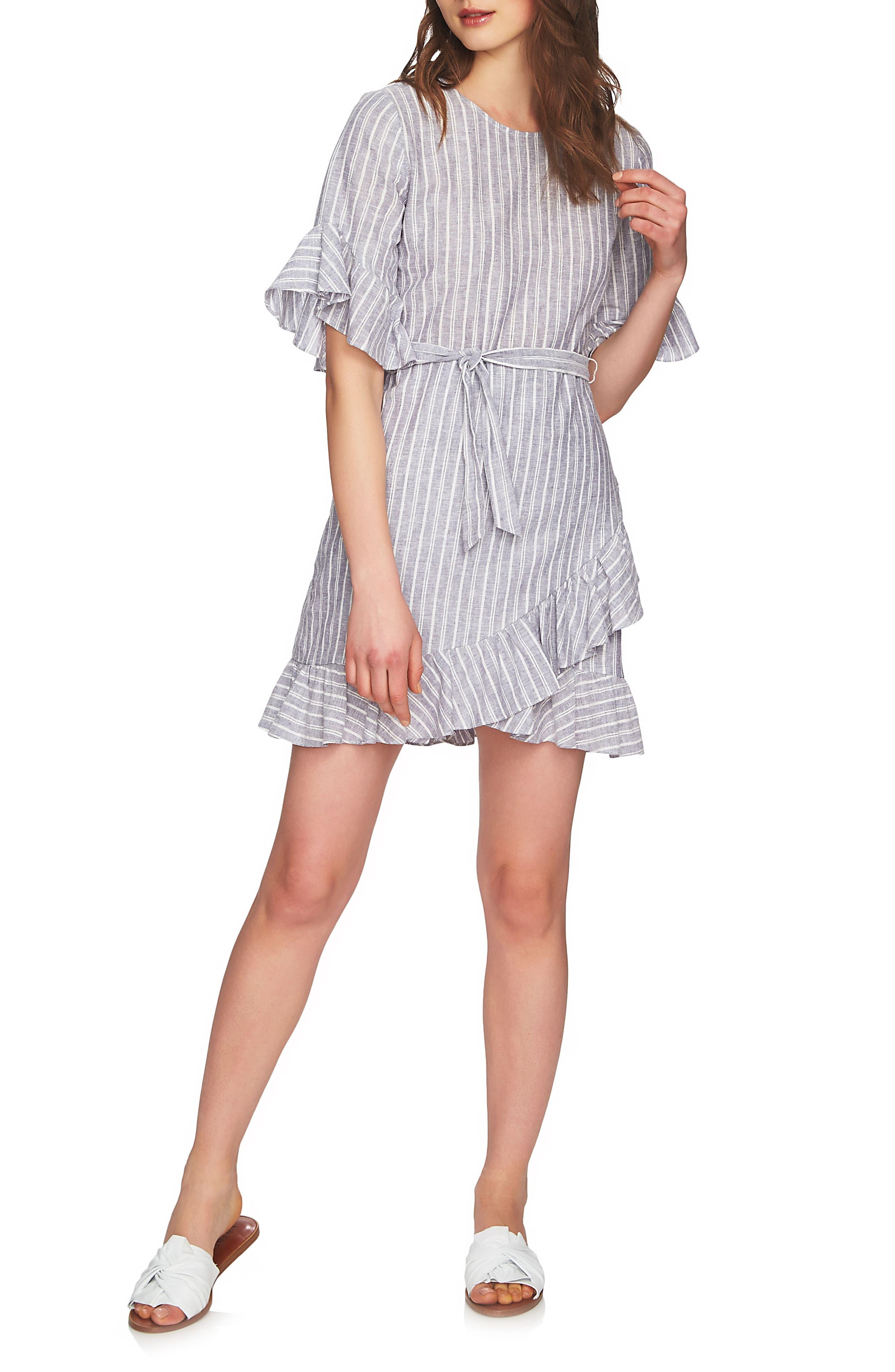 Ruffle Faux Wrap Dress,                             Main thumbnail 1, color,                             Ocean Slate