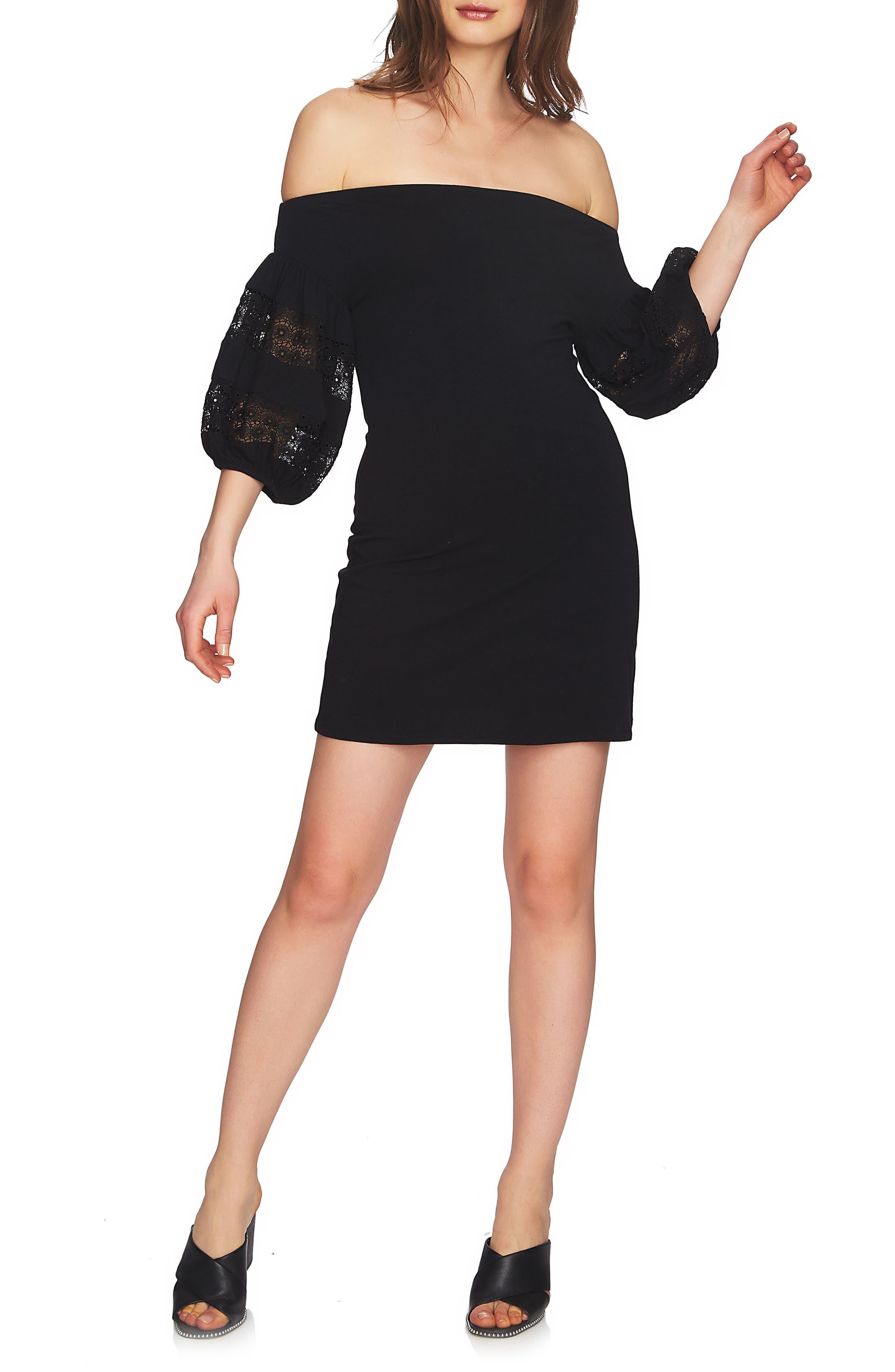 Off the Shoulder Knit Dress,                             Main thumbnail 1, color,                             Rich Black