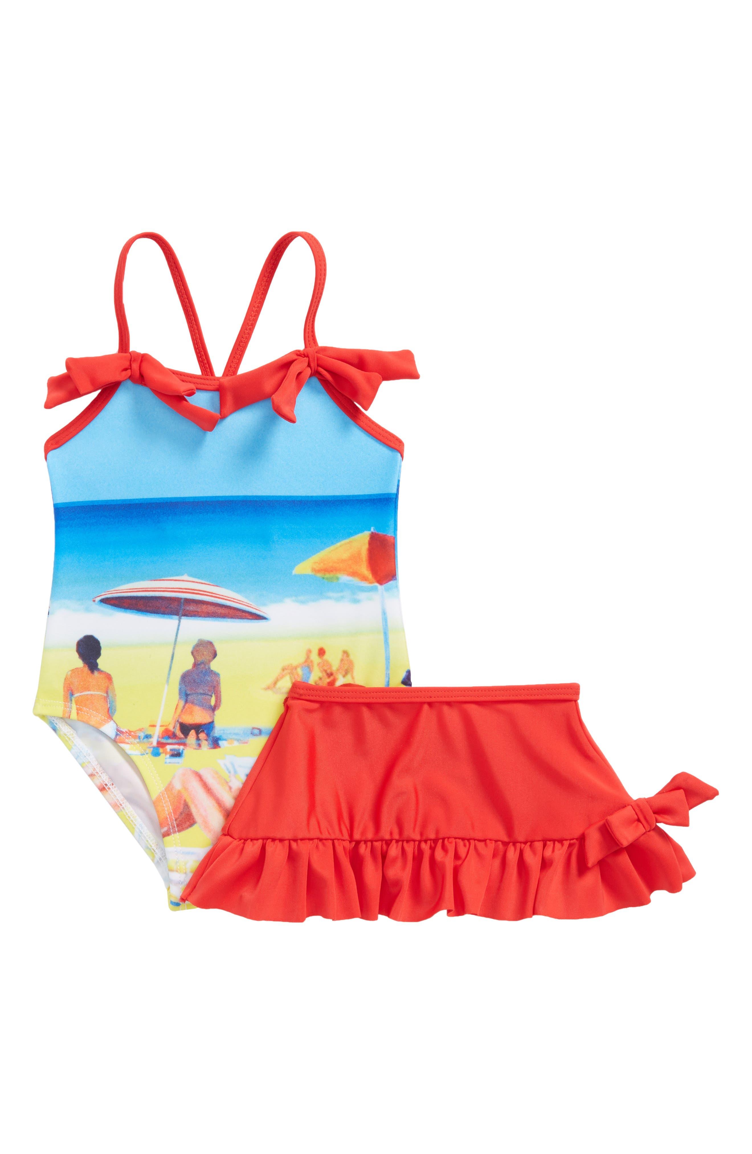 Retro Summer One-Piece Swimsuit & Swim Skirt Set,                         Main,                         color, Blue Multi