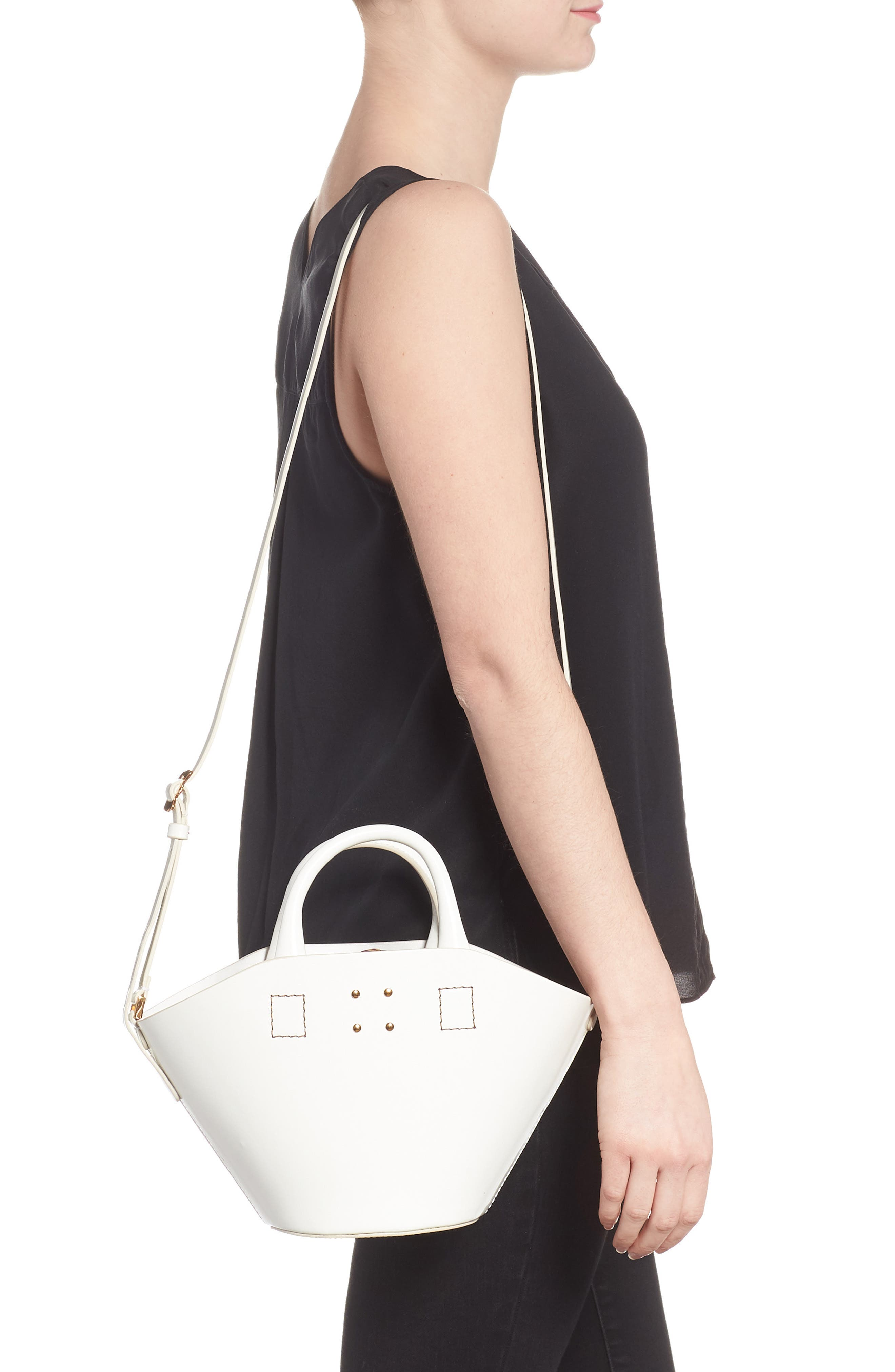 Small Leather Bucket Bag,                             Alternate thumbnail 2, color,                             White