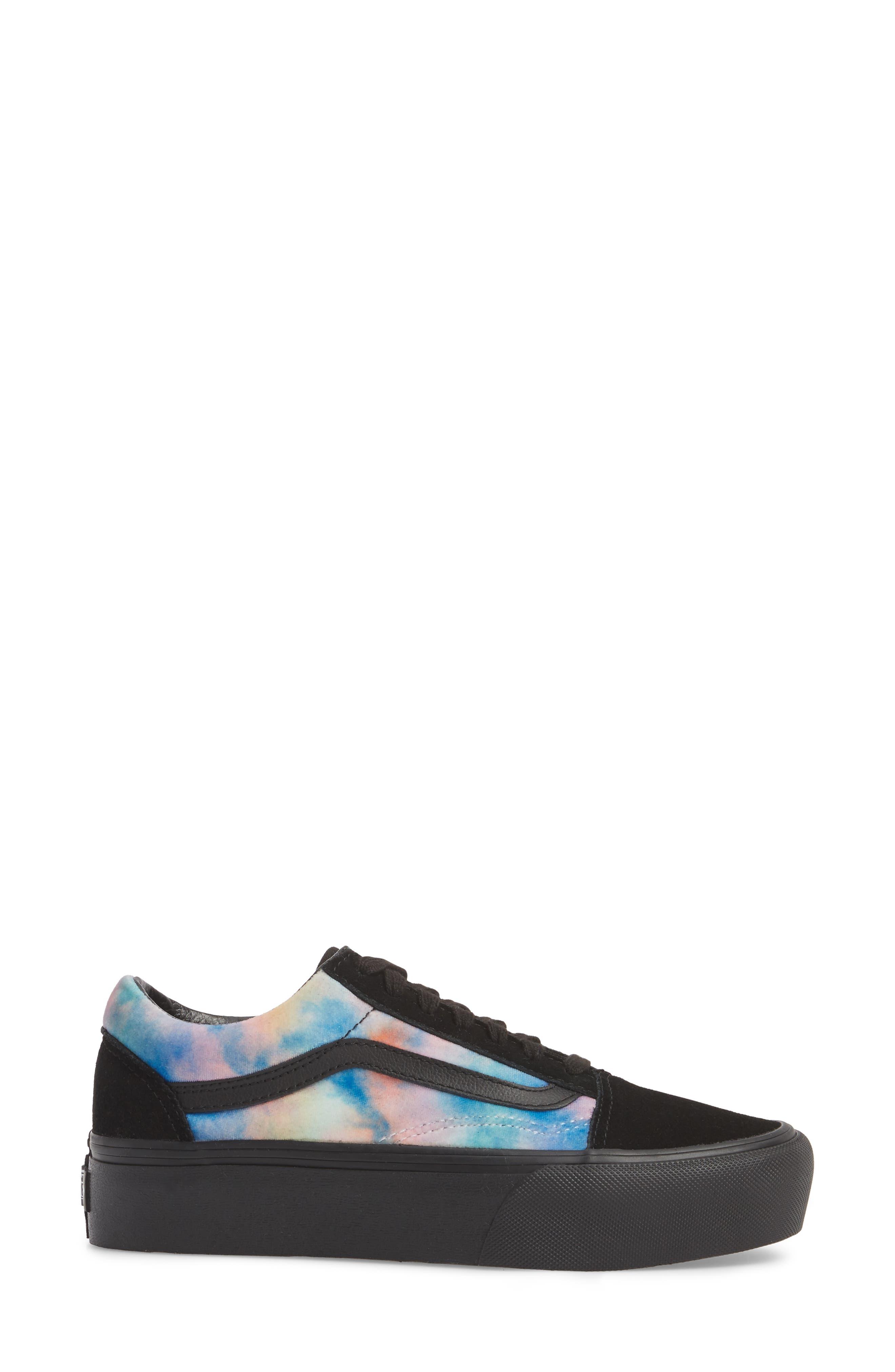 Old Skool Platform Sneaker,                             Alternate thumbnail 4, color,                             Velvet Tie-Dye Multi/ Black