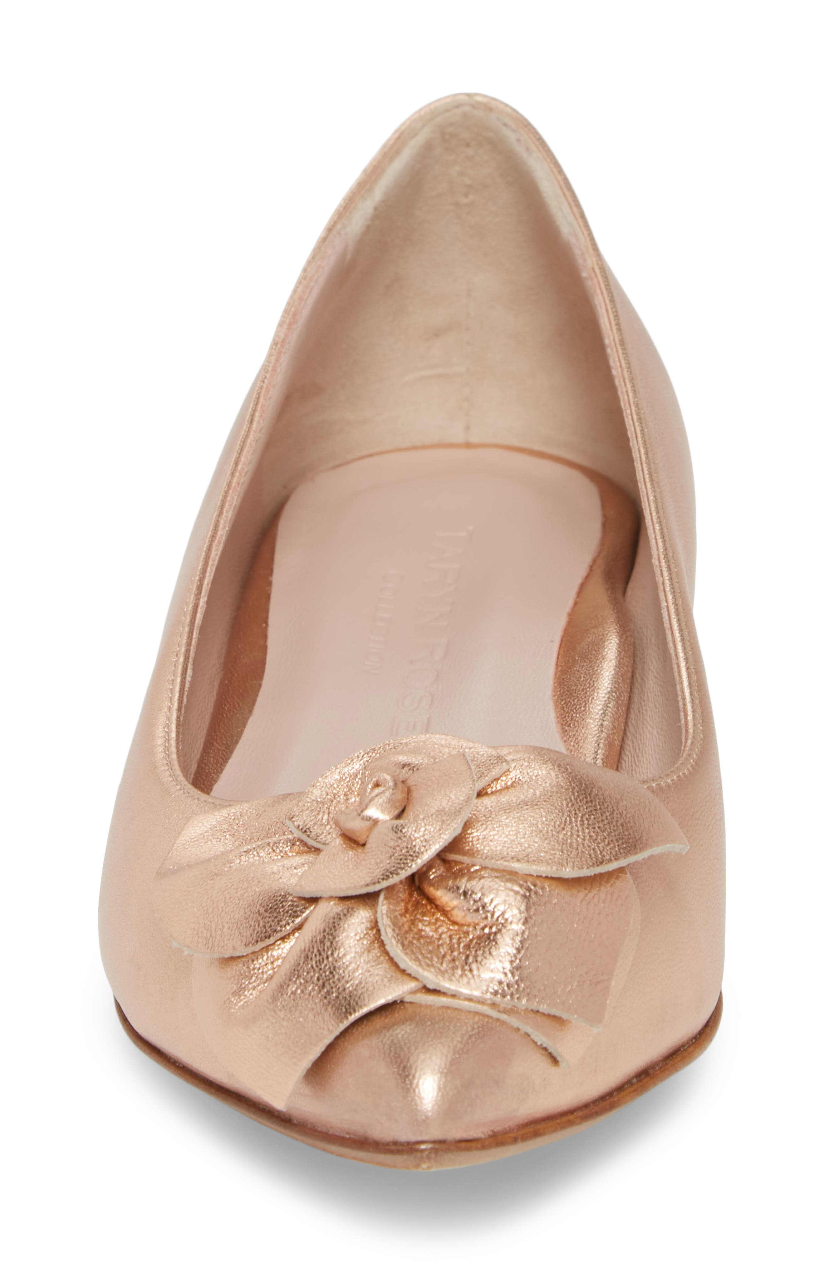 Rialta Flat,                             Alternate thumbnail 4, color,                             Rose Gold Leather