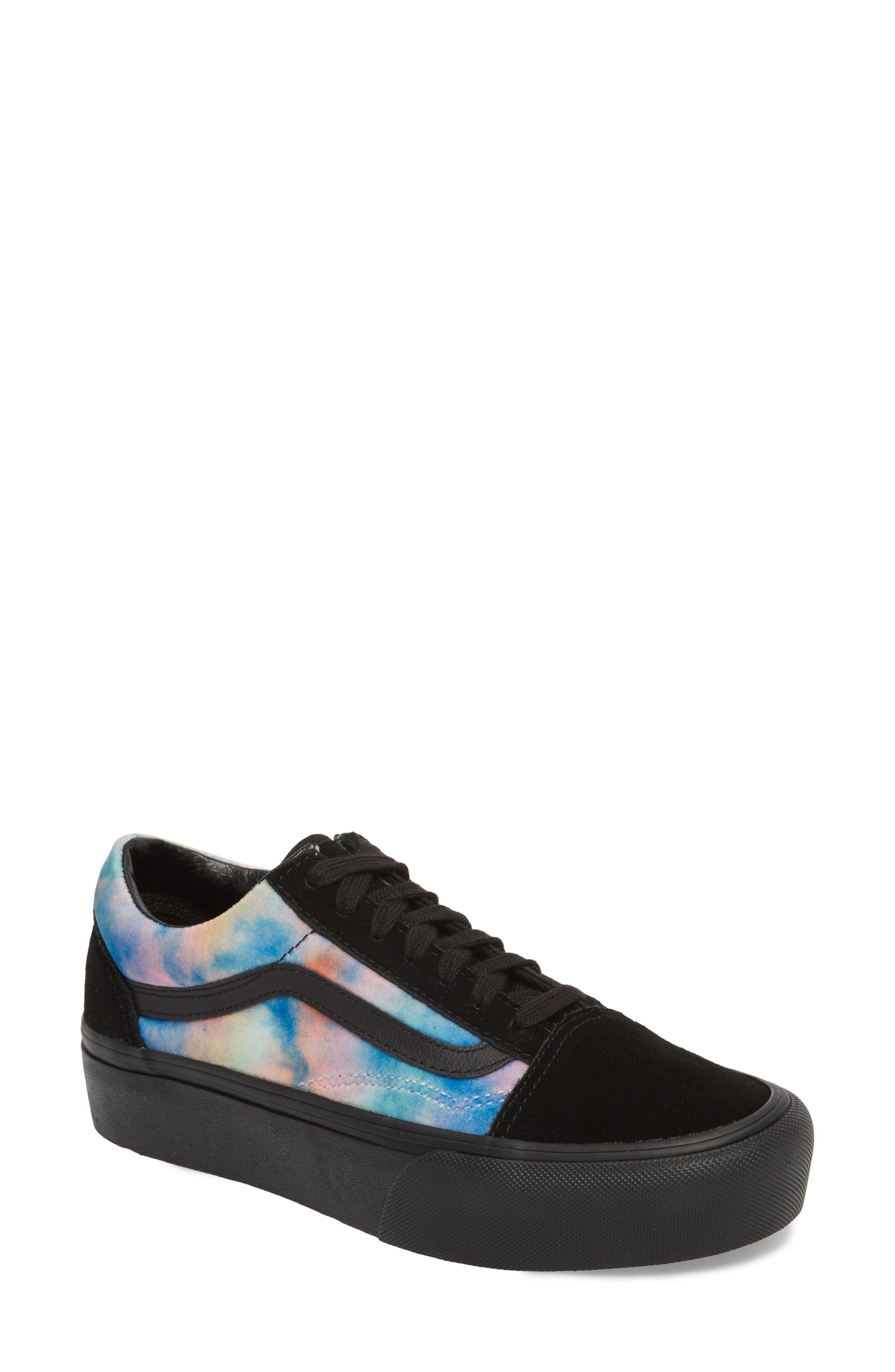 Old Skool Platform Sneaker,                             Main thumbnail 1, color,                             Velvet Tie-Dye Multi/ Black
