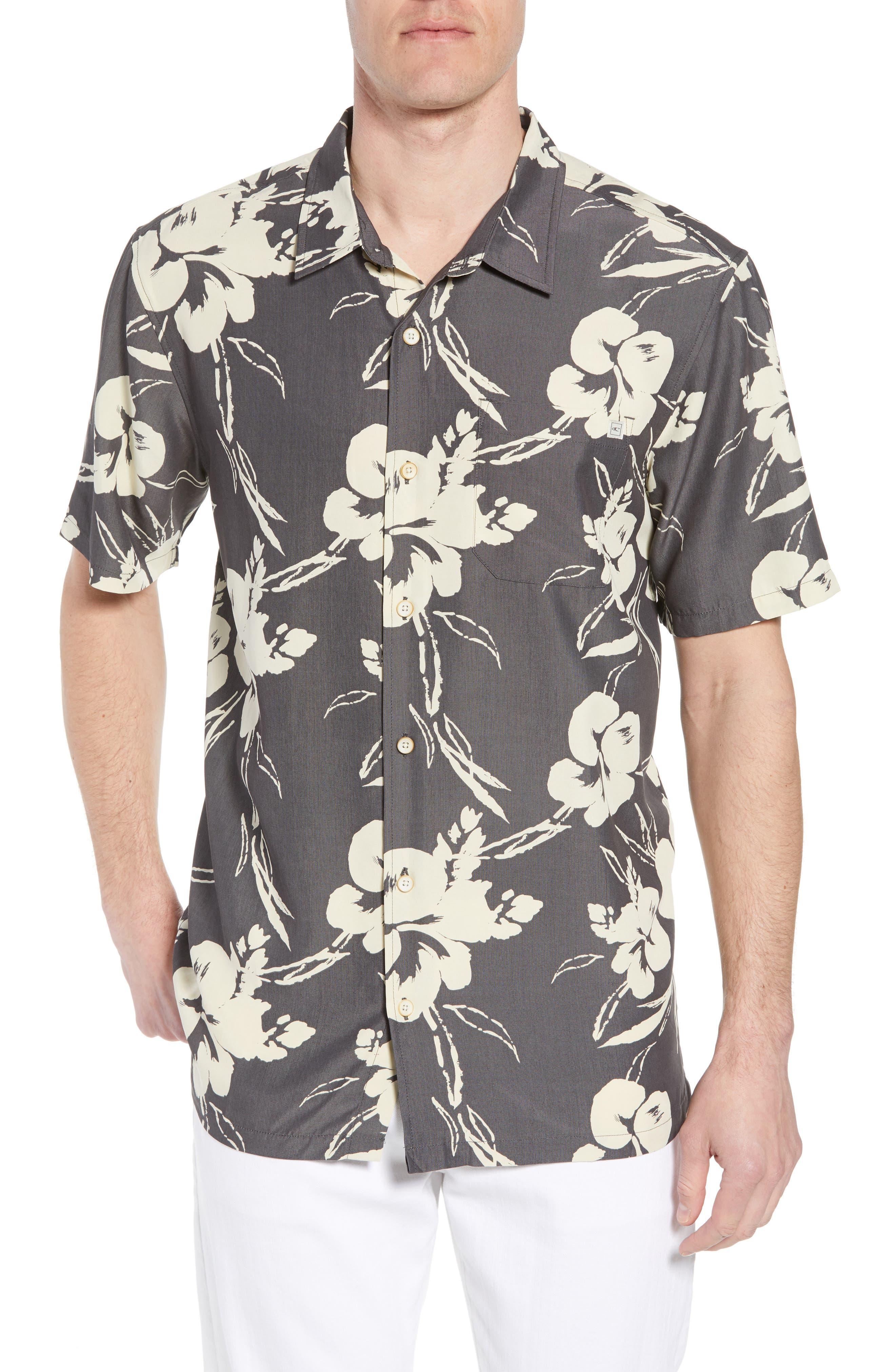 Aloha Print Sport Shirt,                         Main,                         color, Dark Charcoal