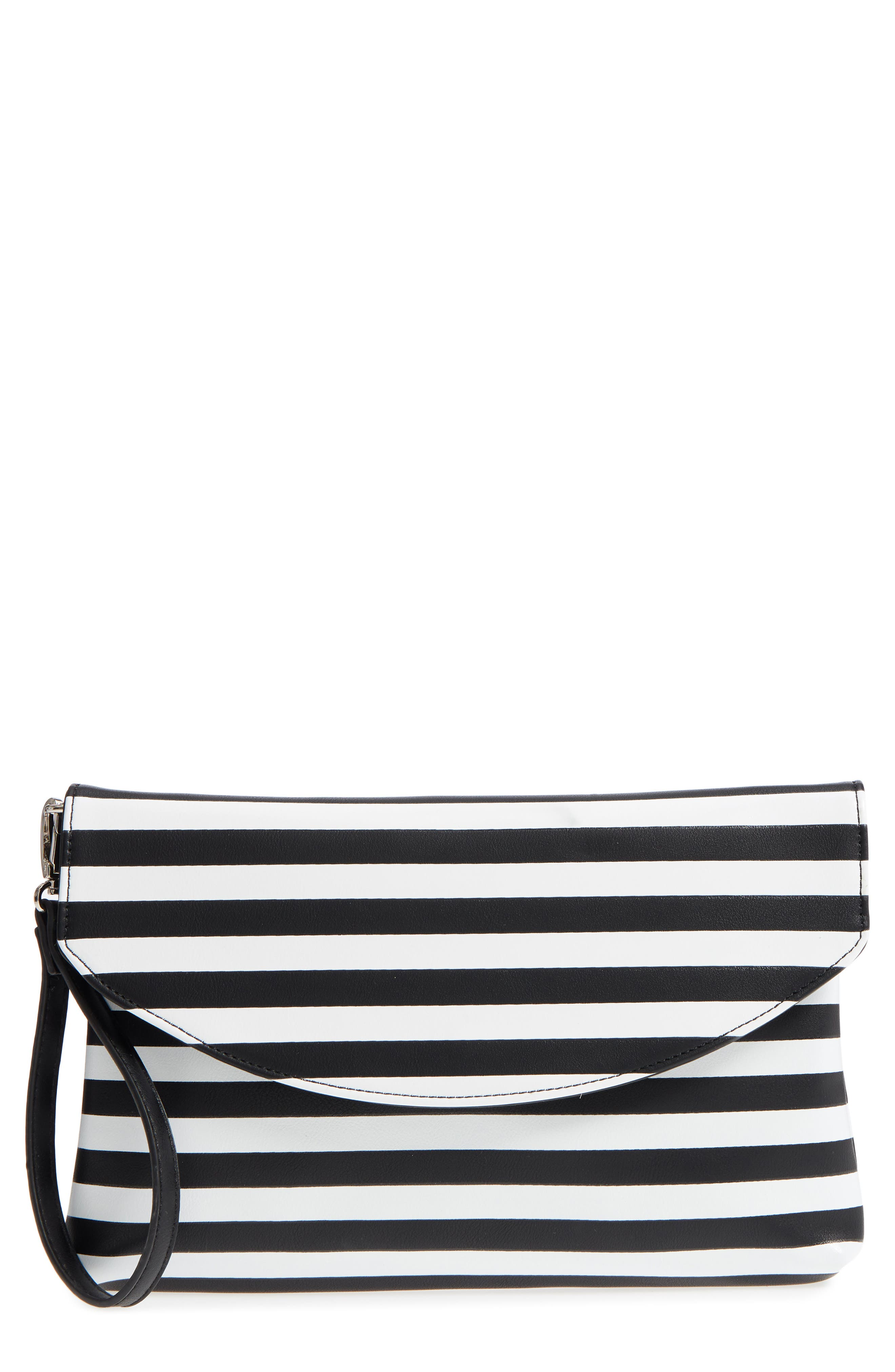 Faux Leather Wristlet Clutch,                         Main,                         color, Black/ White