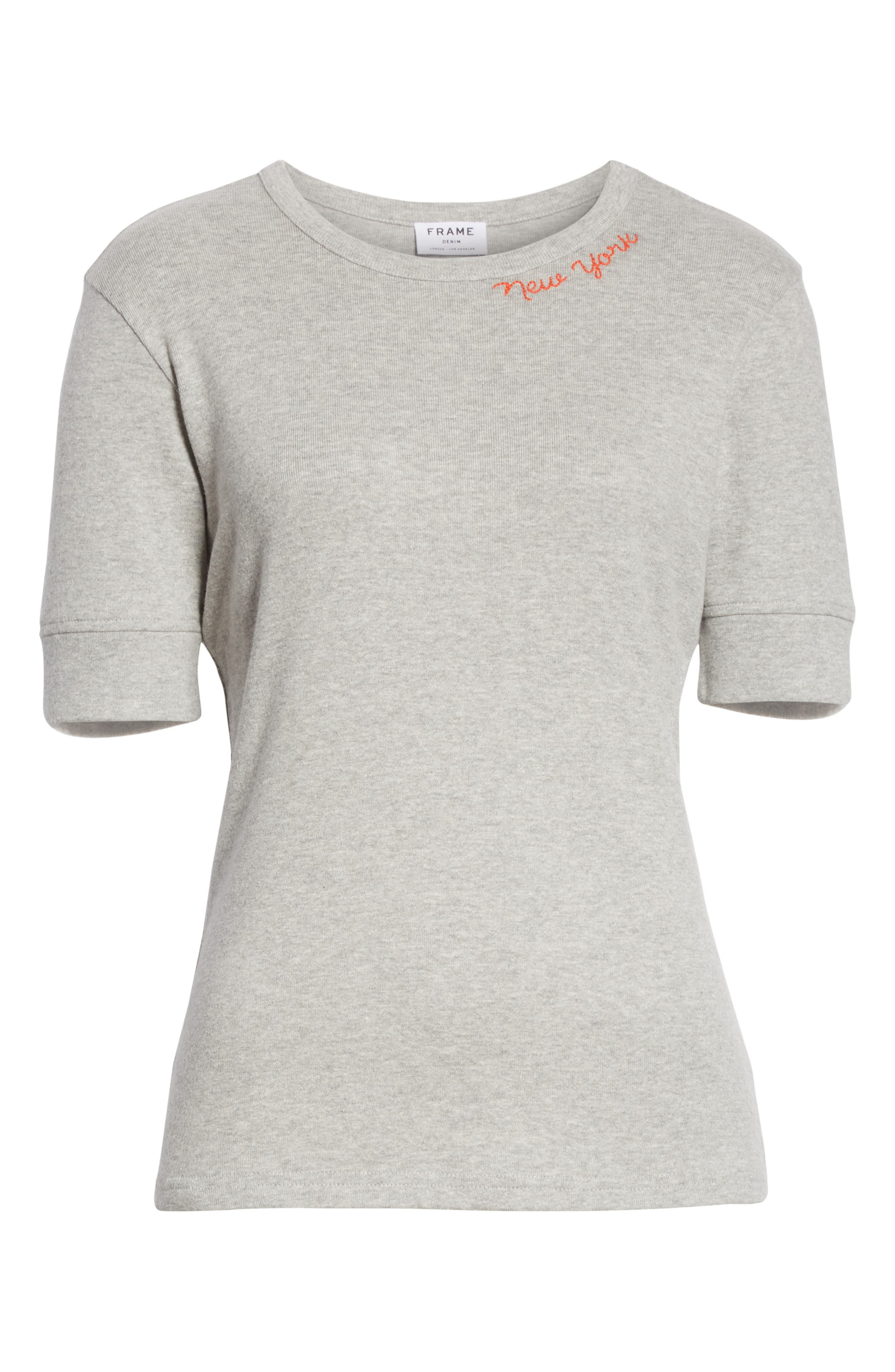 New York Embroidered True Crew Tee,                             Alternate thumbnail 6, color,                             Gris