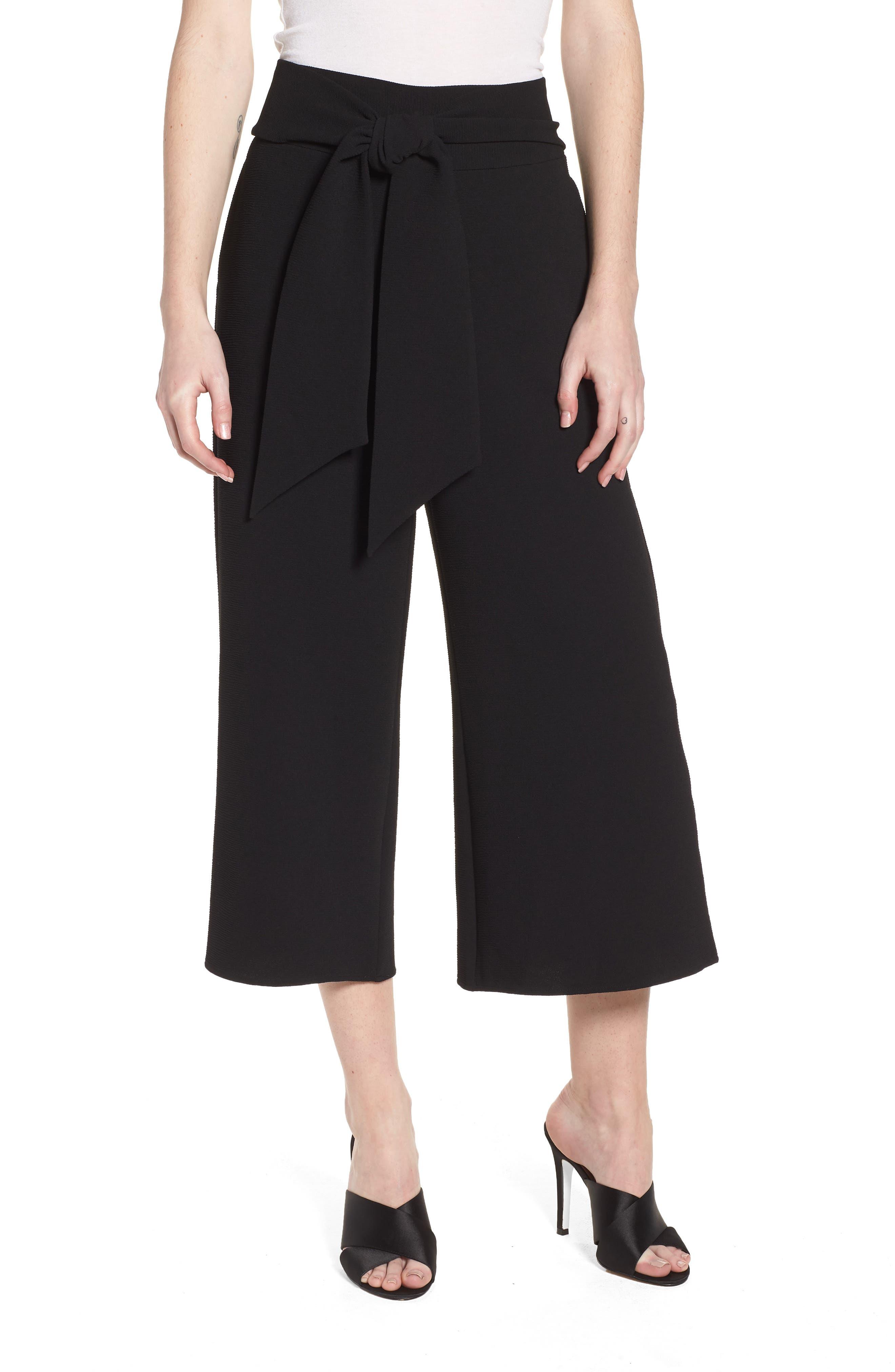 Trouvé Tie Front Wide Leg Pants,                             Main thumbnail 1, color,                             Black