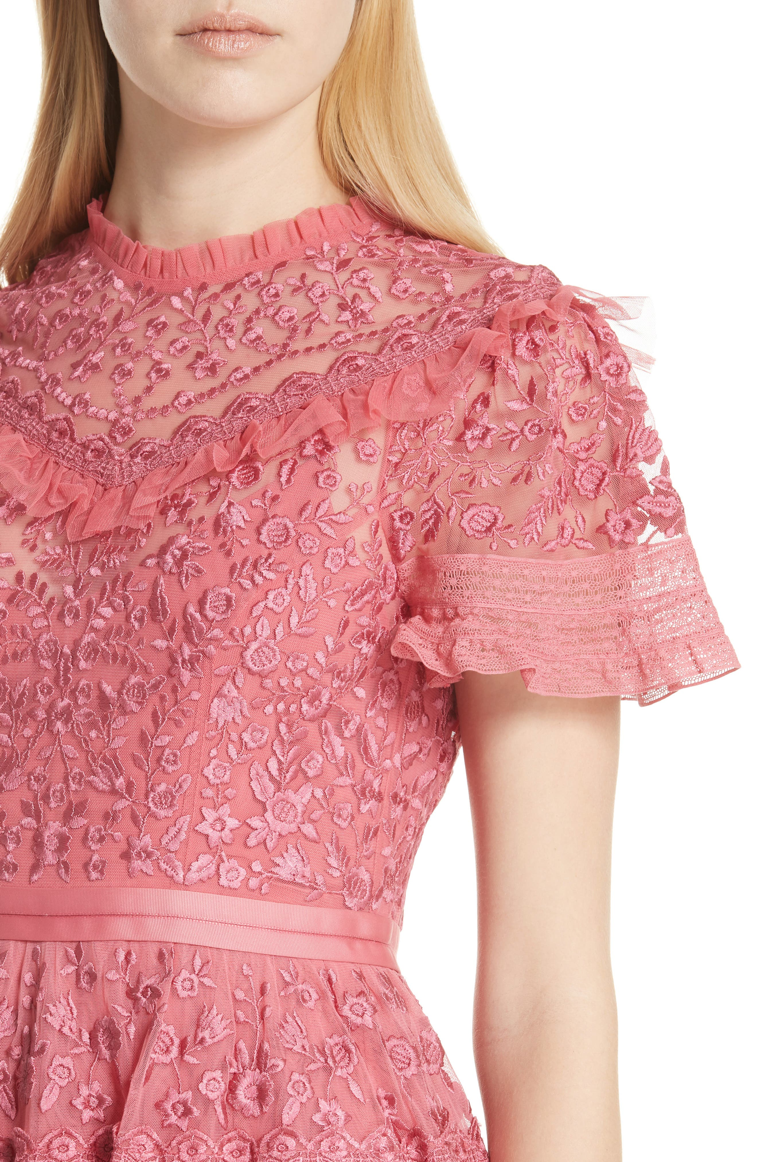 Iris Fit & Flare Dress,                             Alternate thumbnail 4, color,                             Hot Pink