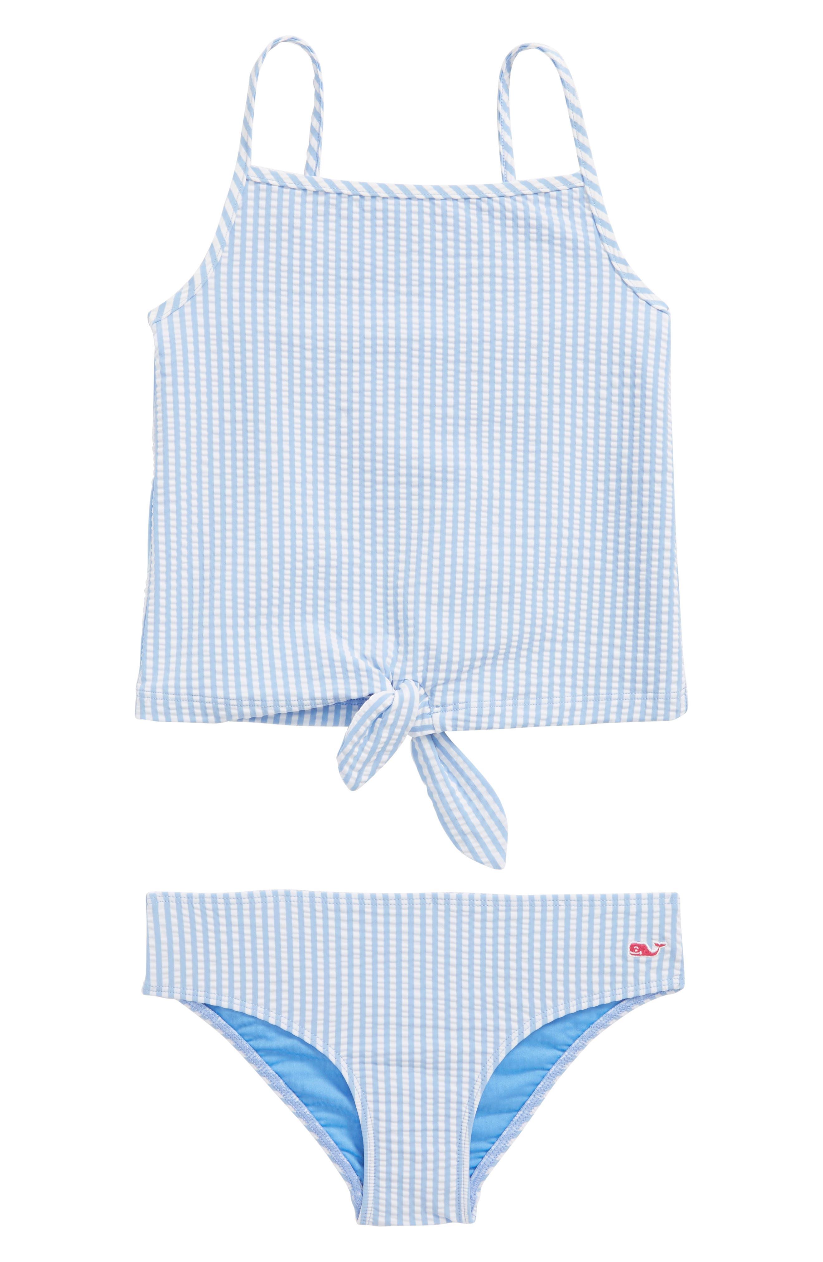 Seersucker Two-Piece Swimsuit,                         Main,                         color, Cornflower