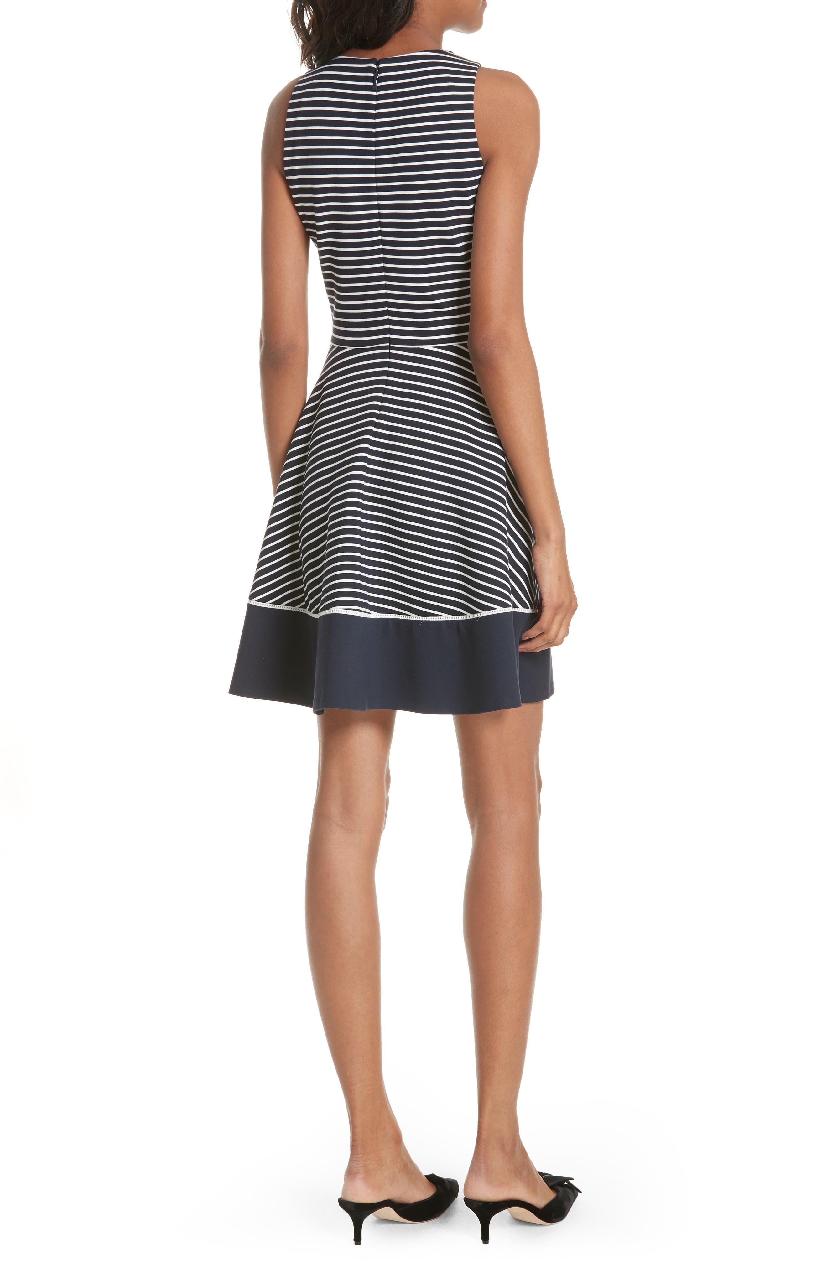 stripe ponte fit & flare dress,                             Alternate thumbnail 2, color,                             Rich Navy/ Off White
