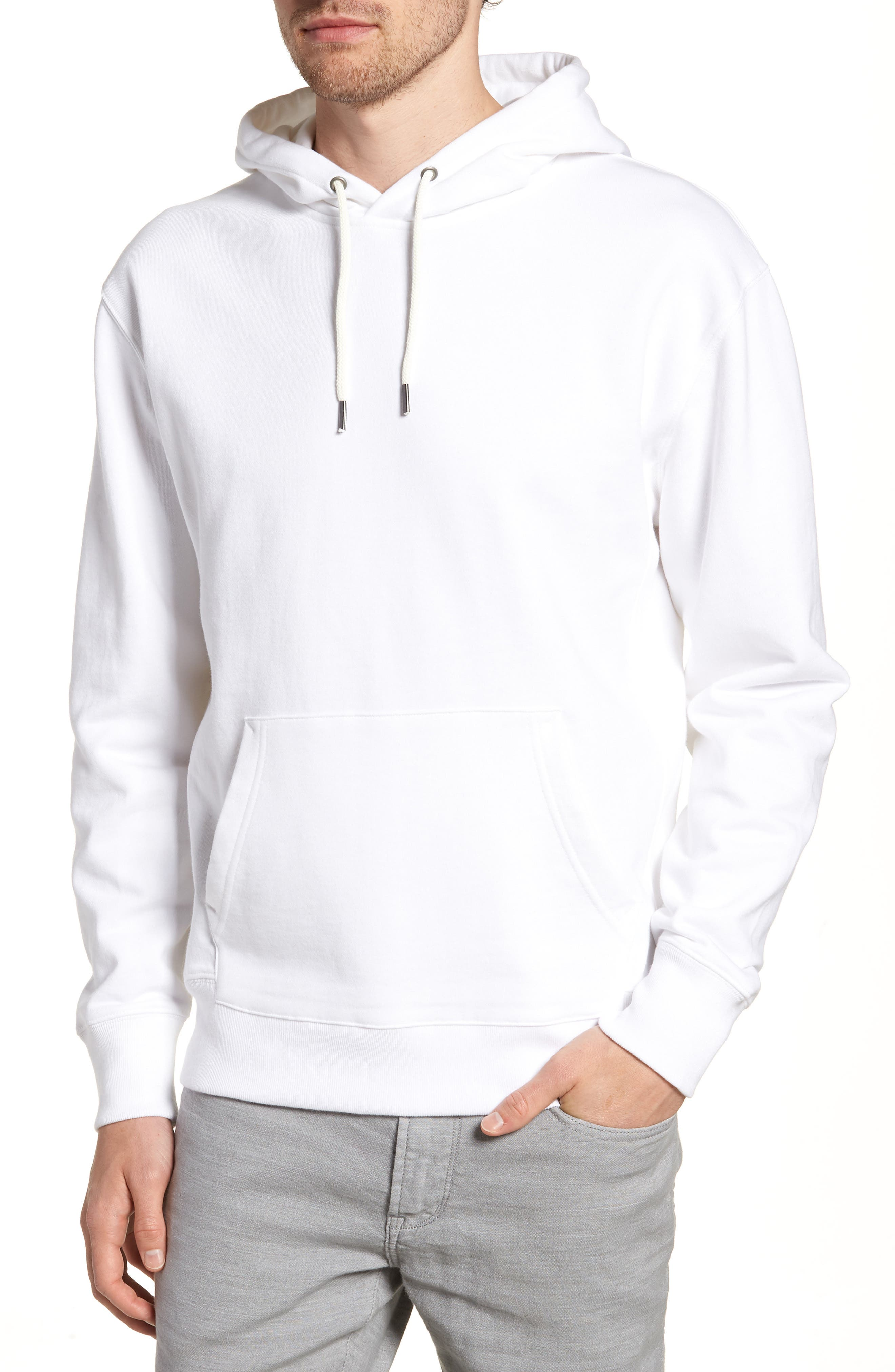 Garment Dyed French Terry Hoodie,                         Main,                         color, White