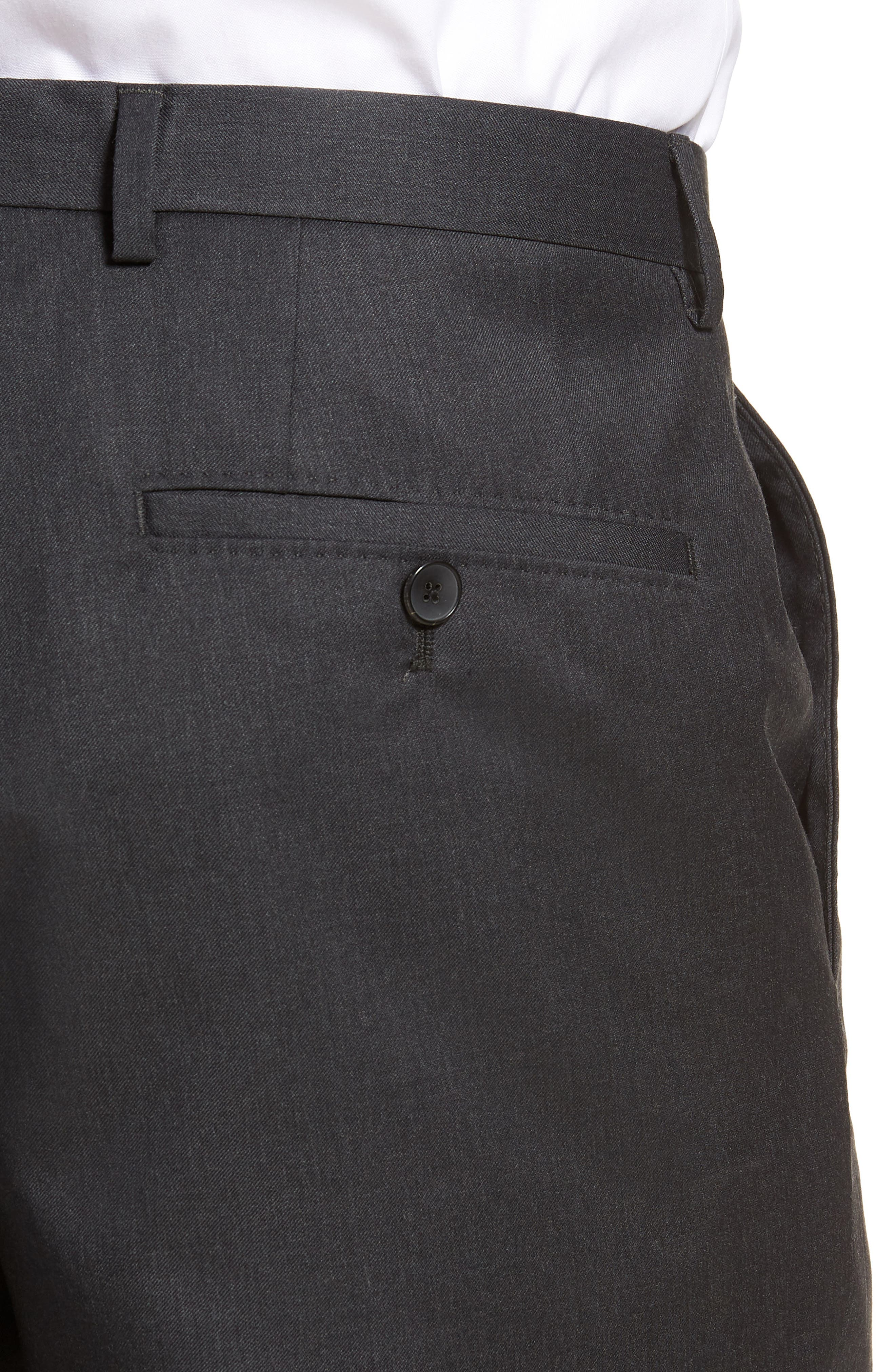 Lenon CYL Flat Front Solid Wool Trousers,                             Alternate thumbnail 4, color,                             Dark Grey