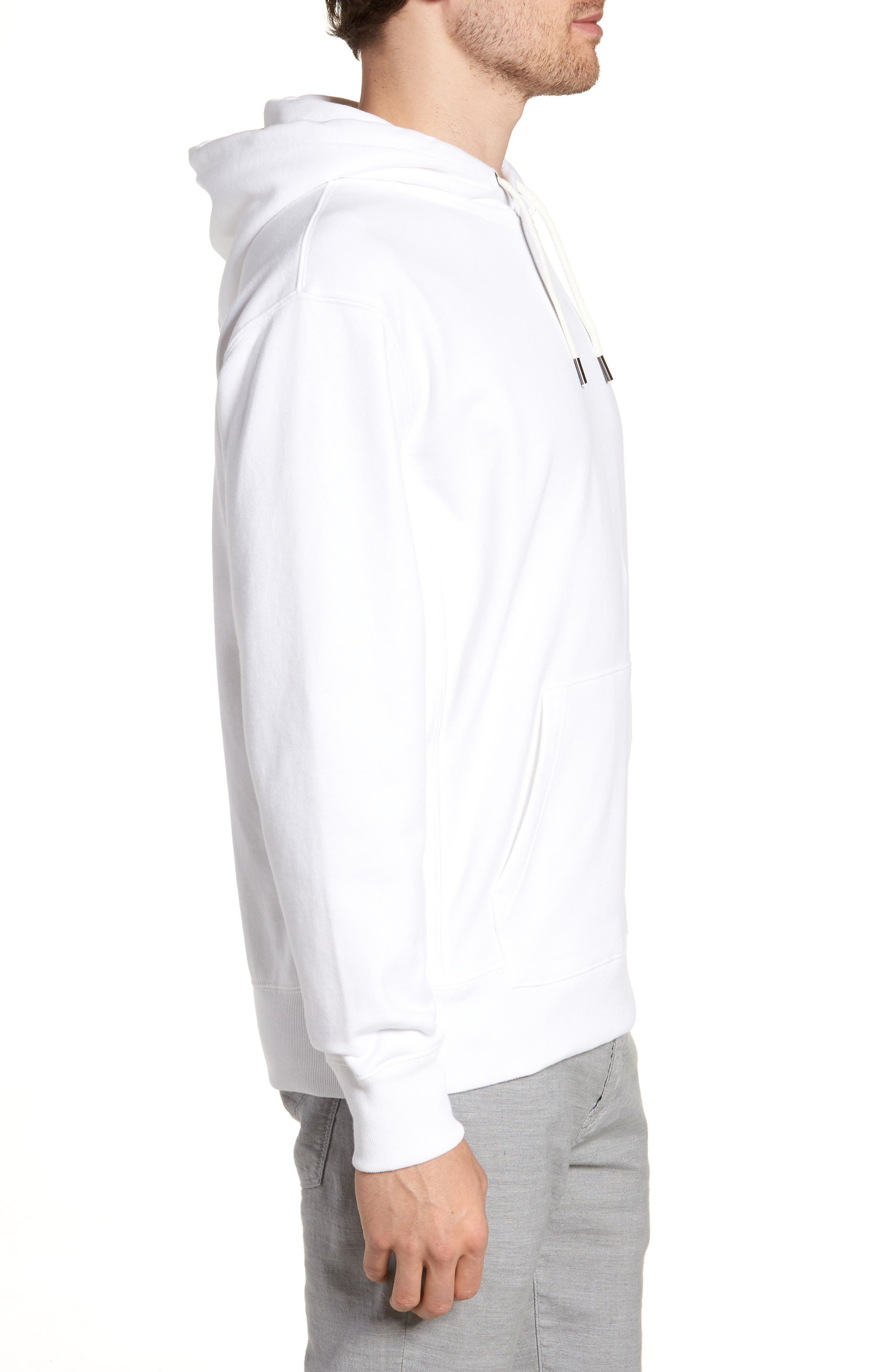 Garment Dyed French Terry Hoodie,                             Alternate thumbnail 4, color,                             White