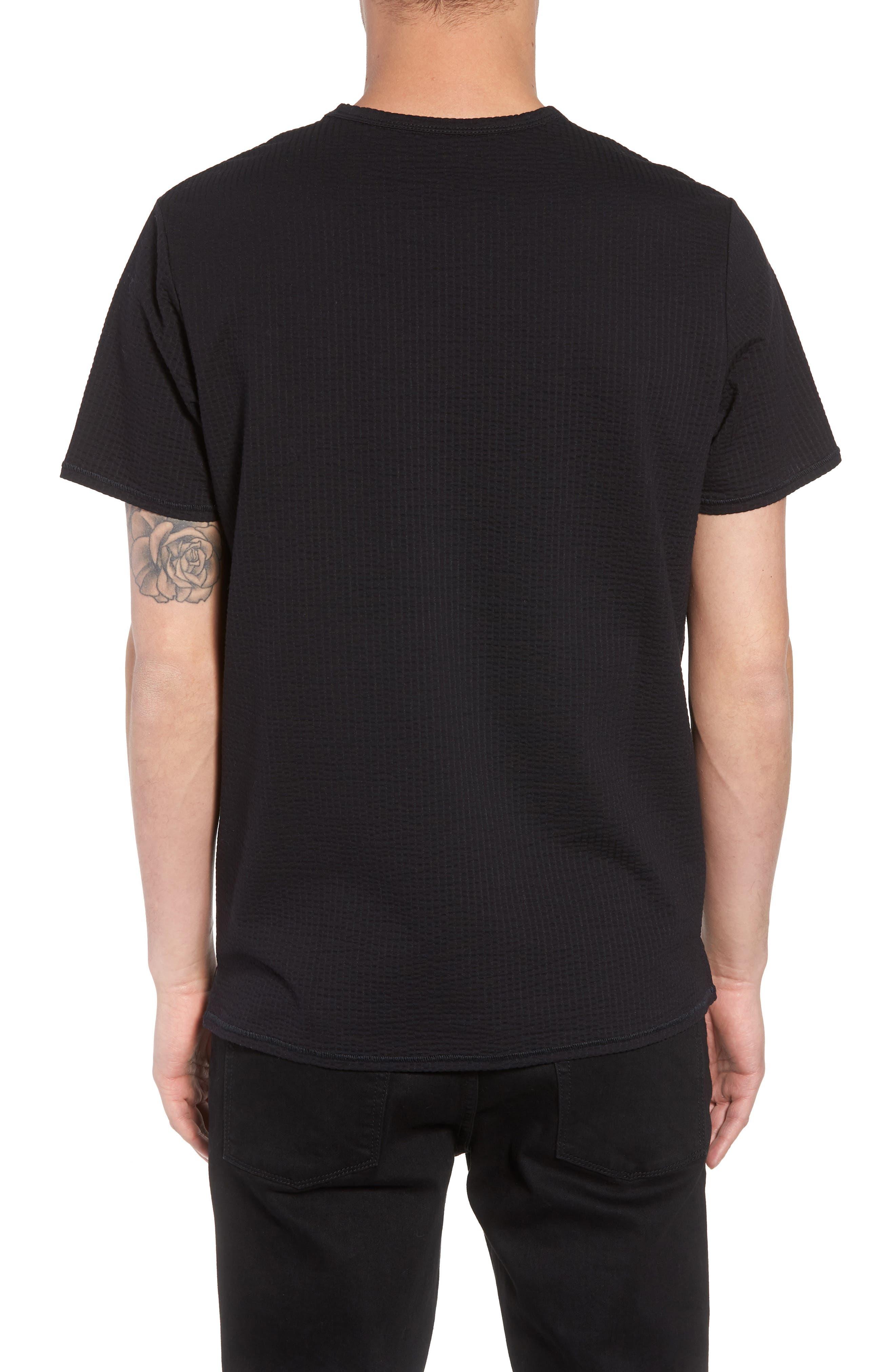 Japanese Seersucker T-Shirt,                             Alternate thumbnail 2, color,                             Black Seersucker