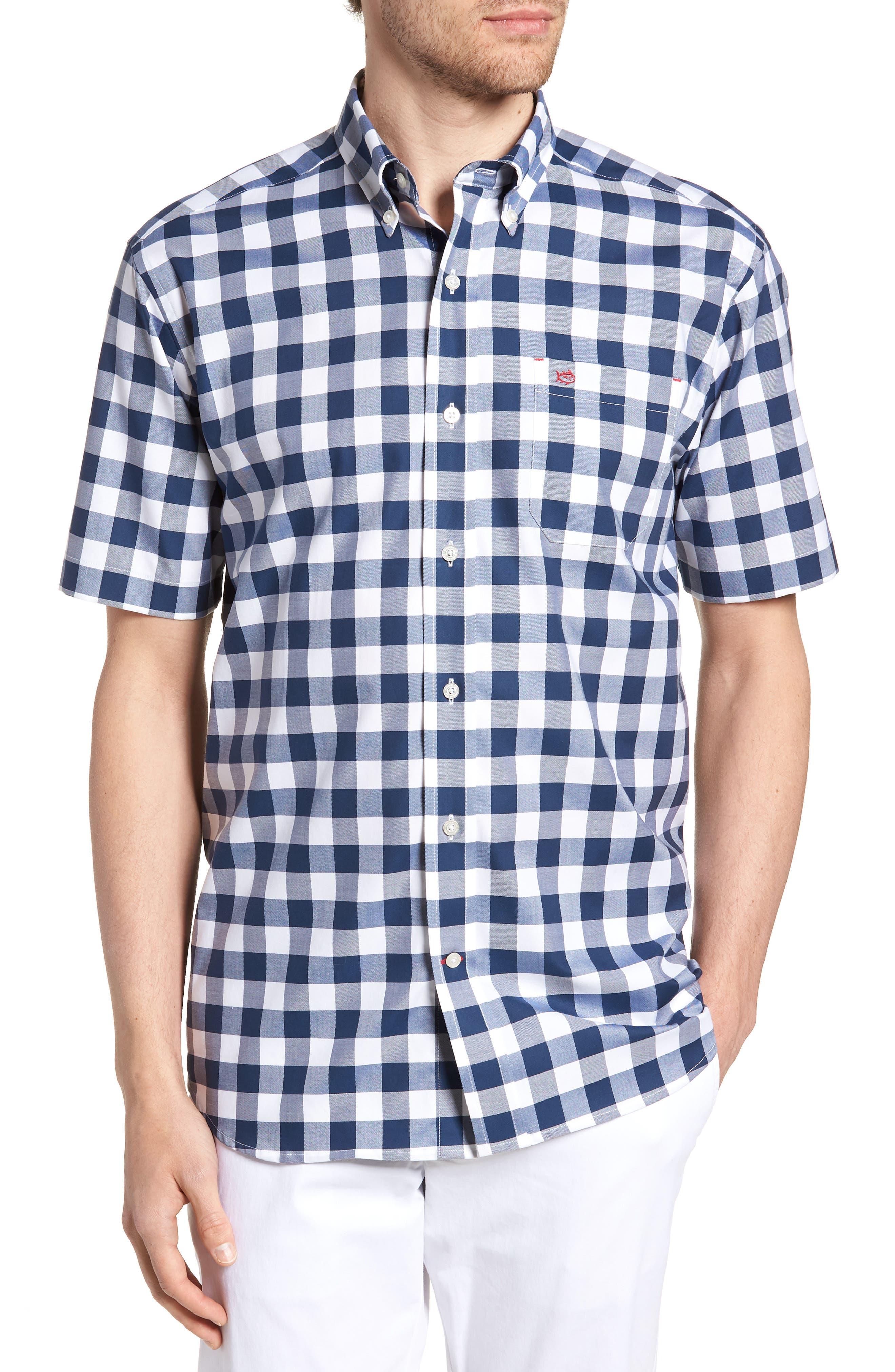 Regular Fit Buffalo Check Sport Shirt,                         Main,                         color, Yacht Blue