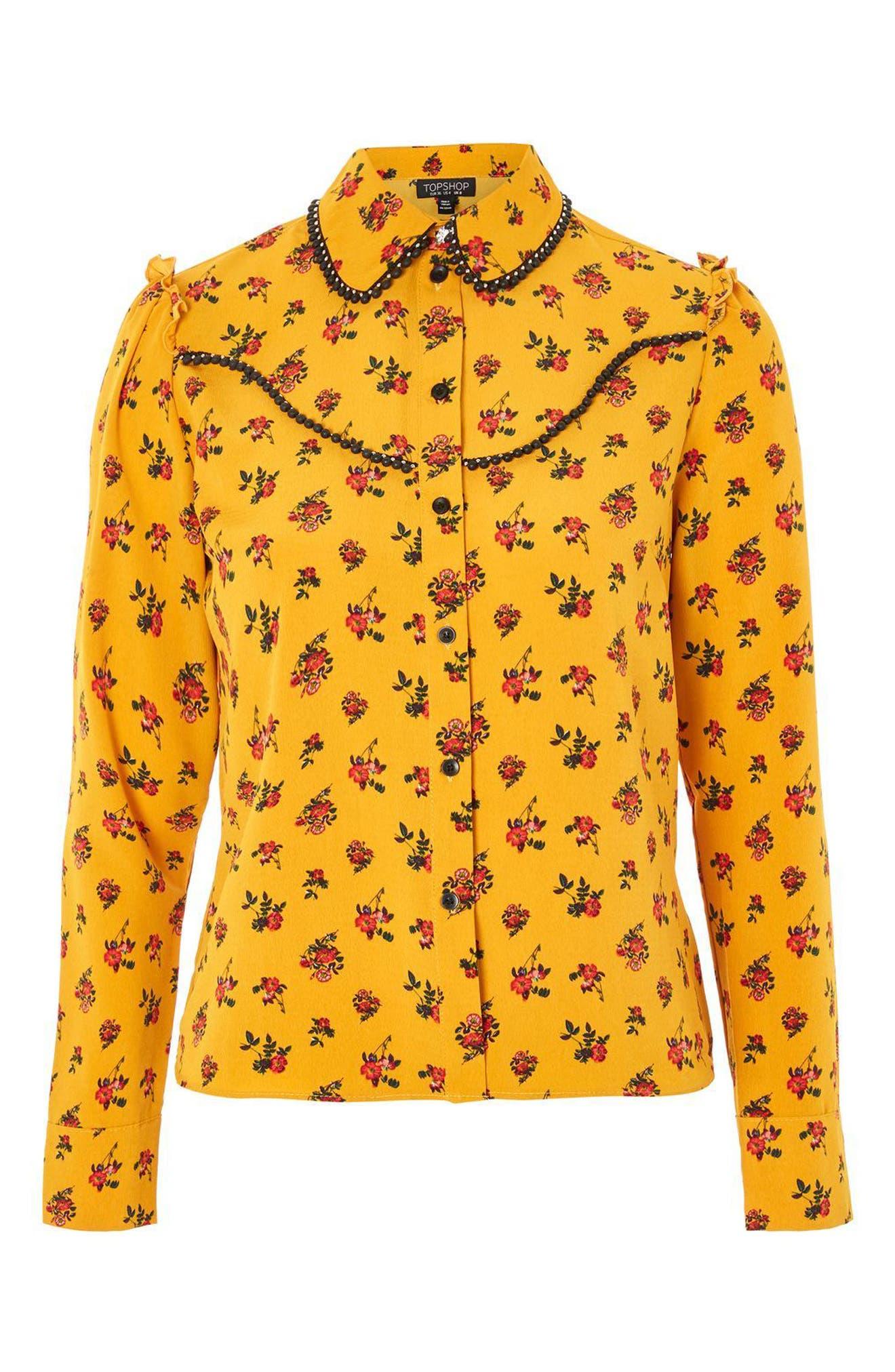 Rodeo Floral Retro Shirt,                             Alternate thumbnail 4, color,                             Mustard