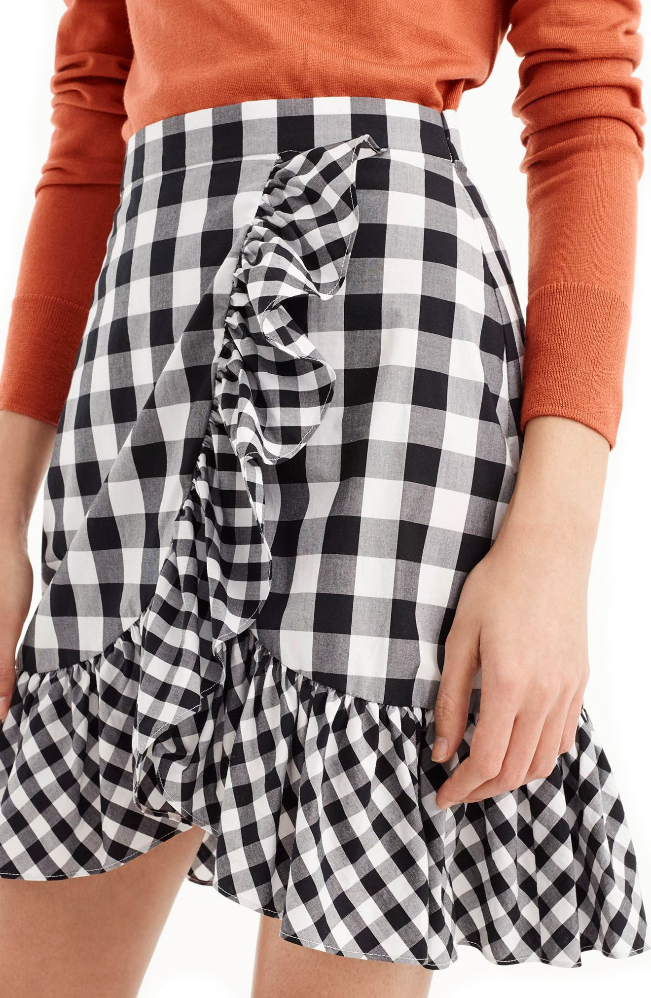 Pistachio Gingham Cotton Poplin Ruffle Skirt,                             Alternate thumbnail 3, color,                             Black