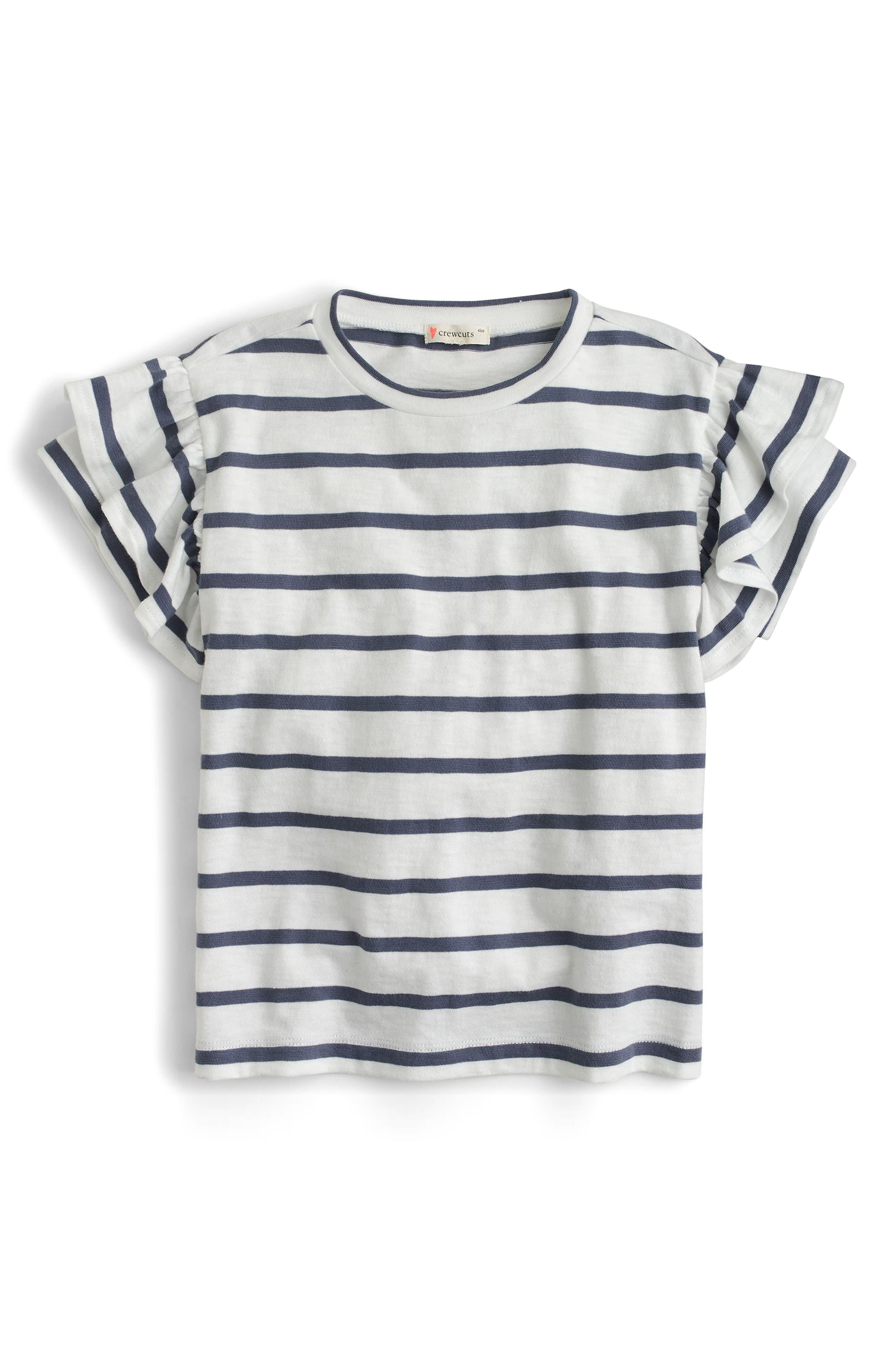 Flutter Sleeve T-Shirt,                             Main thumbnail 1, color,                             Dusty Navy White