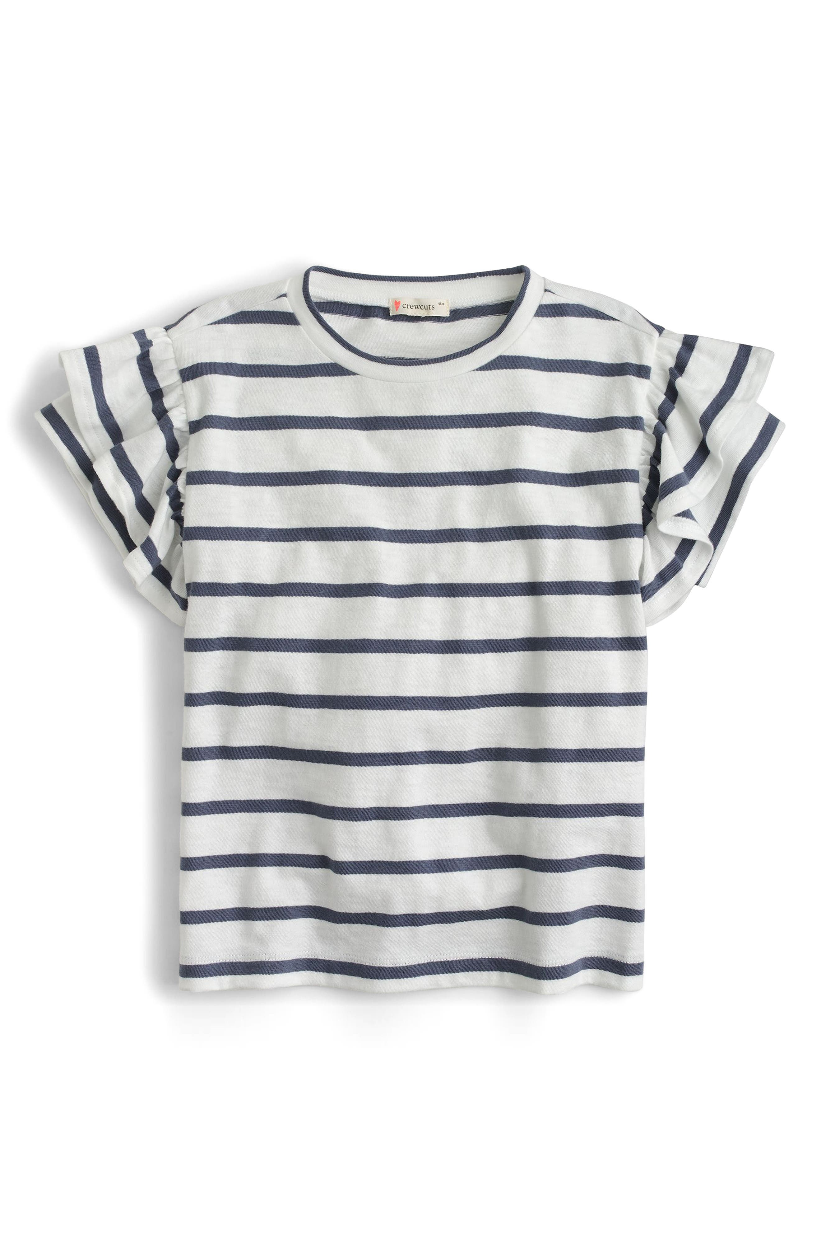 Flutter Sleeve T-Shirt,                         Main,                         color, Dusty Navy White