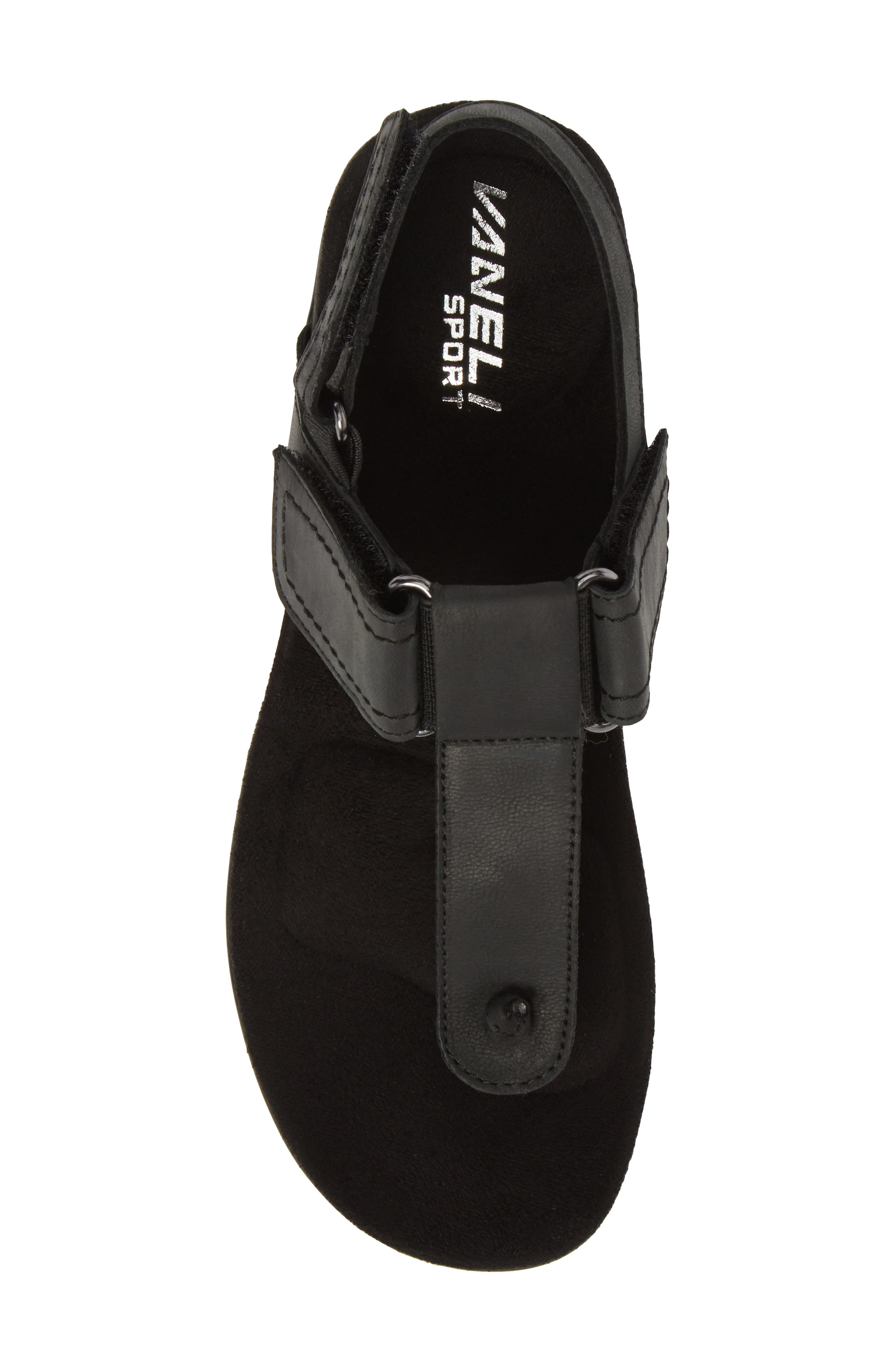Valley Sandal,                             Alternate thumbnail 5, color,                             Black Leather