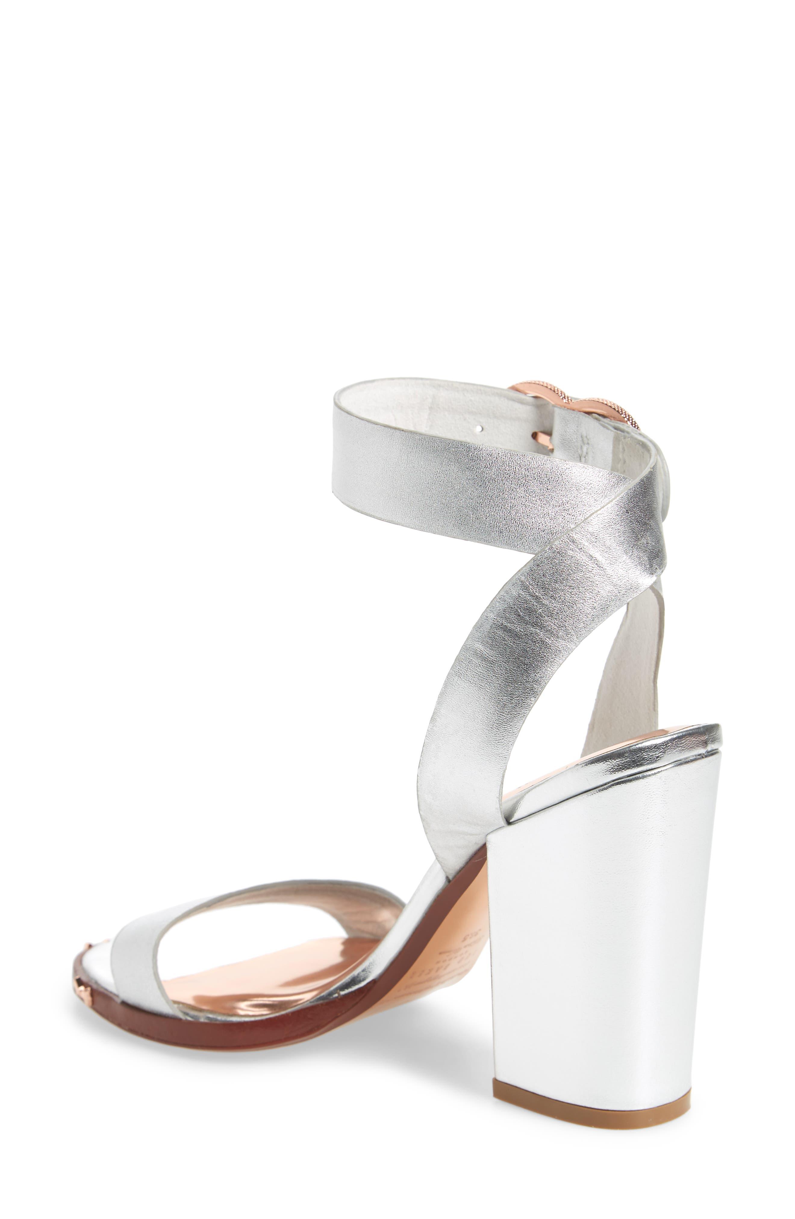 Lylea Block Heel Sandal,                             Alternate thumbnail 2, color,                             Silver Leather
