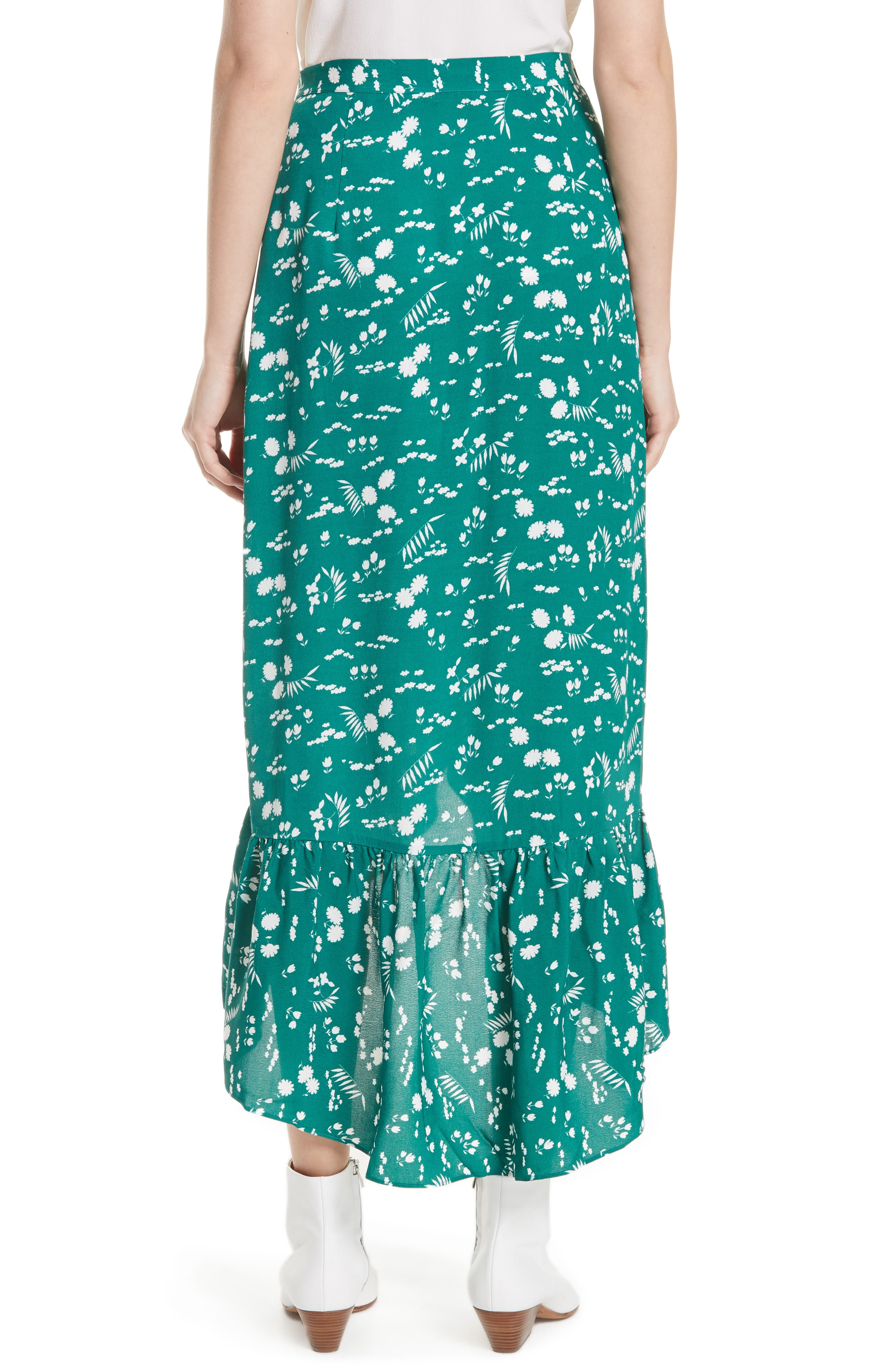 Floral High/Low Wrap Skirt,                             Alternate thumbnail 2, color,                             Imprime