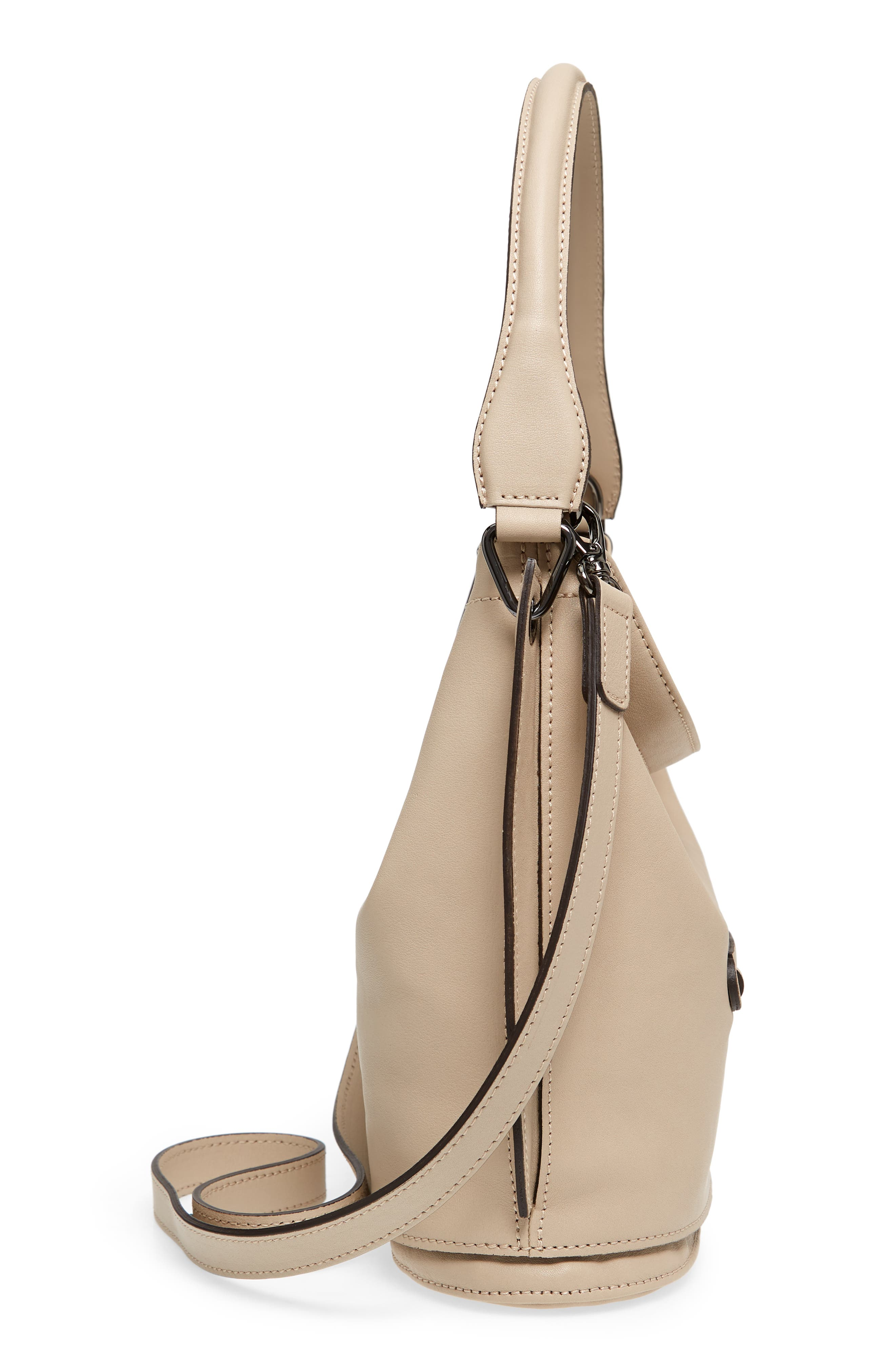 3D Leather Bucket Bag,                             Alternate thumbnail 5, color,                             Clay