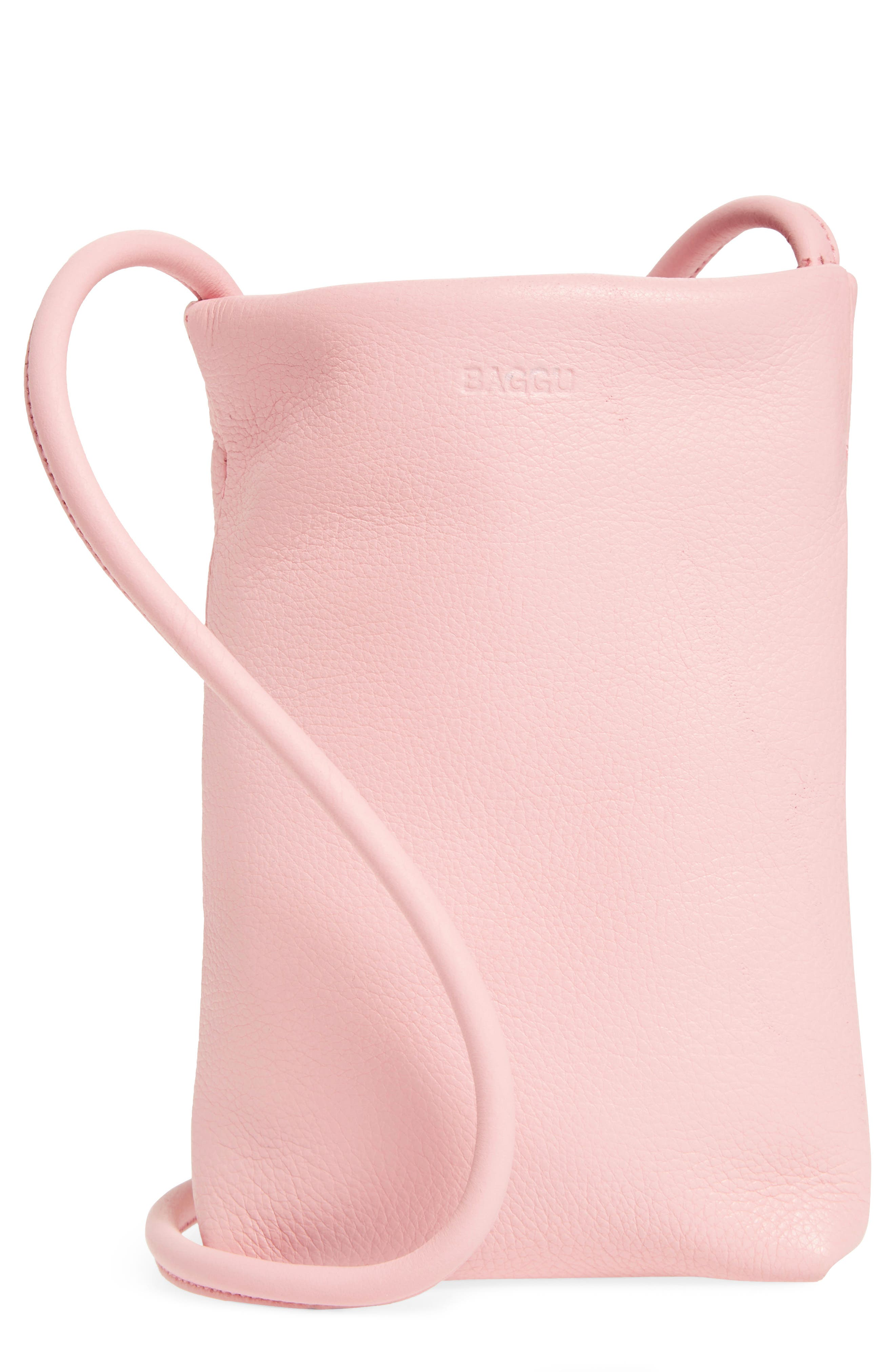 Leather Phone Crossbody Bag,                             Main thumbnail 1, color,                             Powder Pink