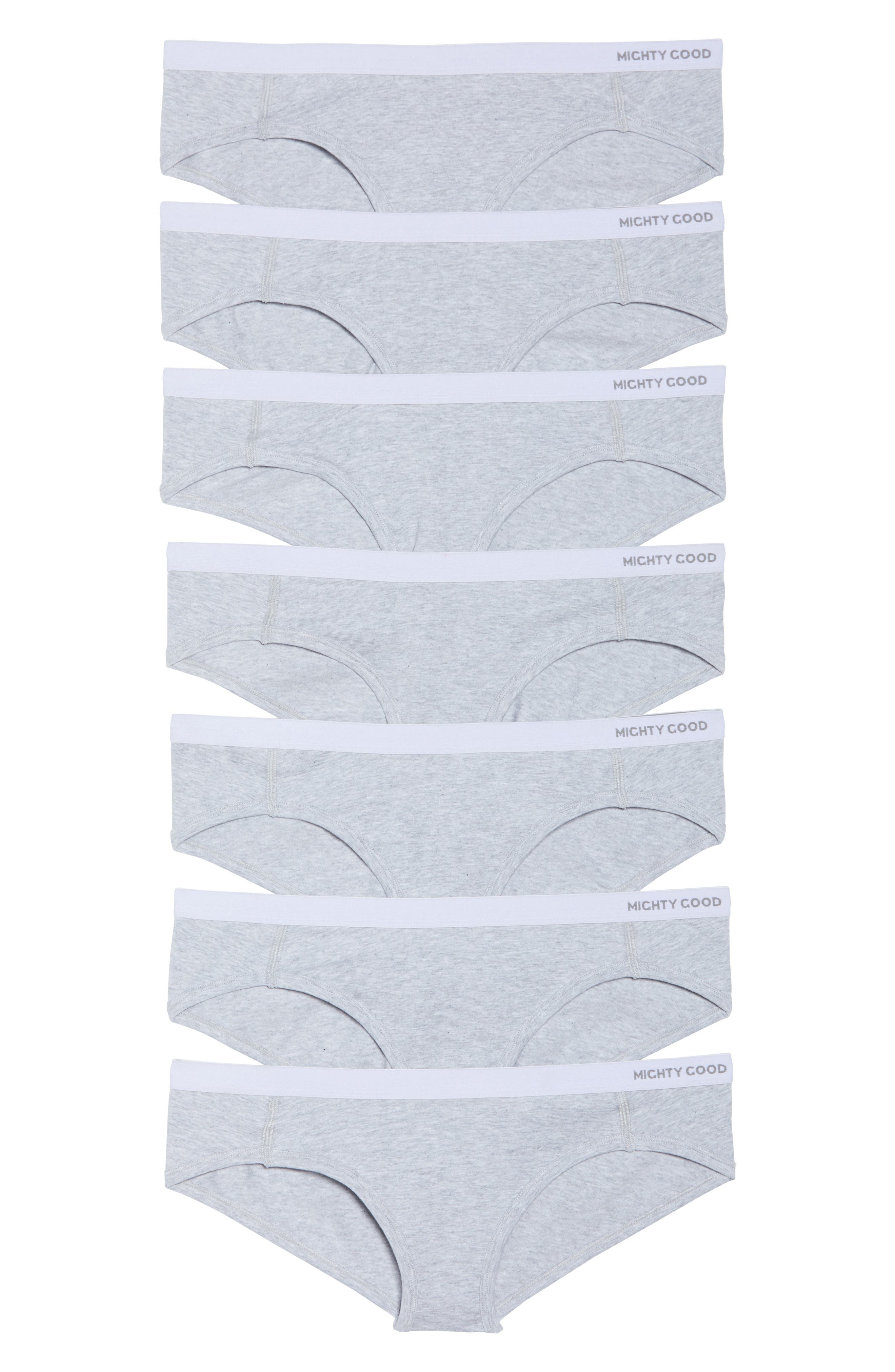 Monday to Sunday 7-Pack Stretch Organic Cotton Hipster Panties,                             Alternate thumbnail 2, color,                             Grey Marle
