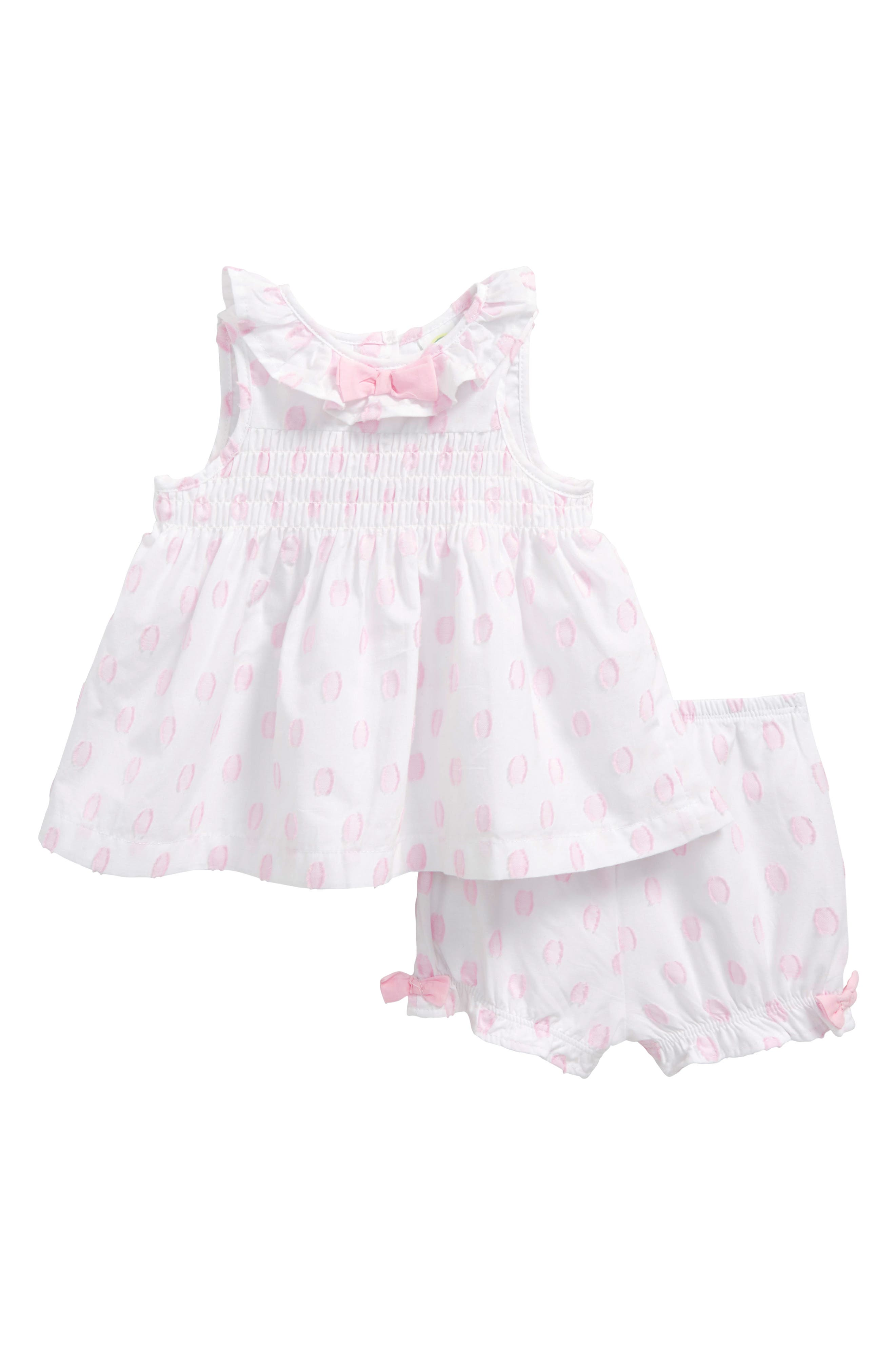 Tunic & Bloomers Set,                         Main,                         color, White Dot